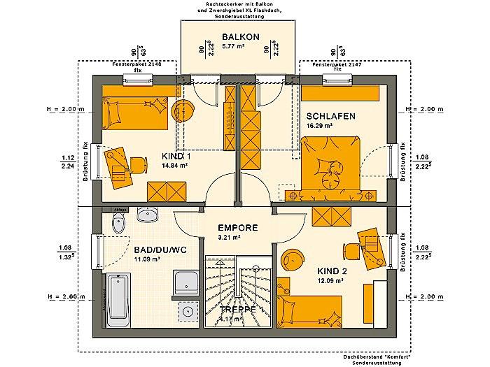 Dachgeschoss SUNSHINE 125 V4 von Living Fertighaus GmbH