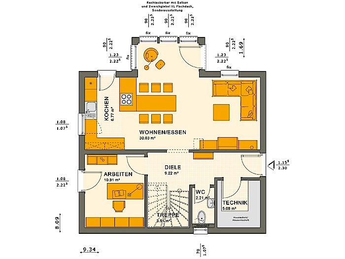 Erdgeschoss SUNSHINE 125 V4 von Living Fertighaus GmbH