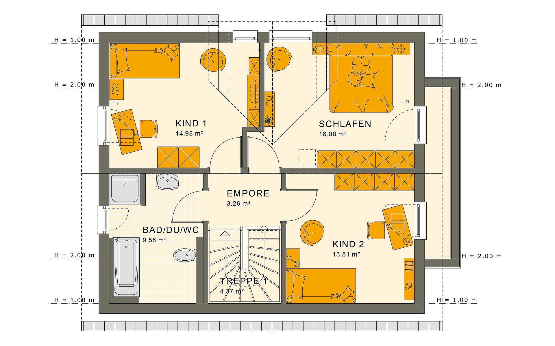 Dachgeschoss SUNSHINE 125 V3 von Living Fertighaus GmbH