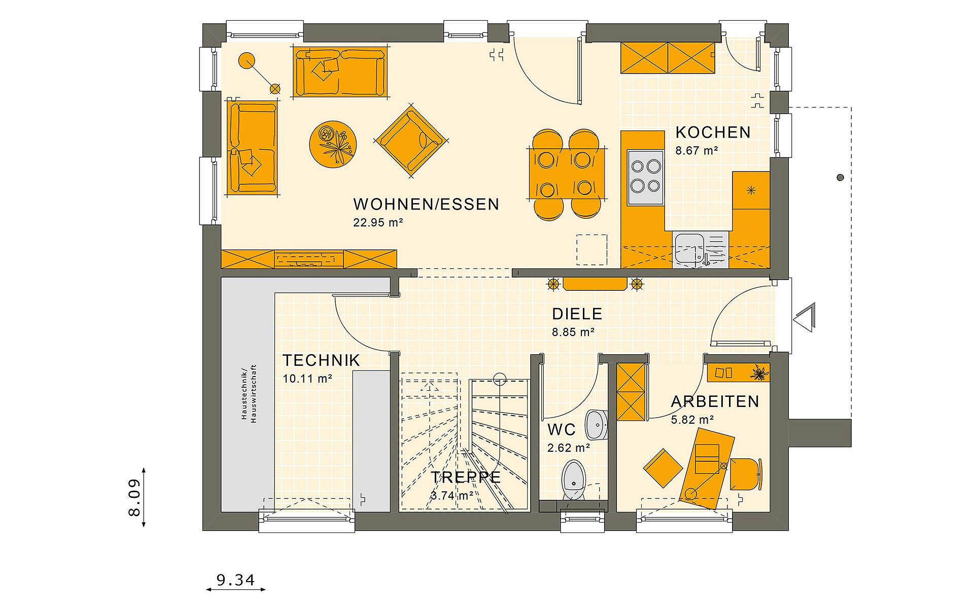 Erdgeschoss SUNSHINE 125 V3 von Living Fertighaus GmbH