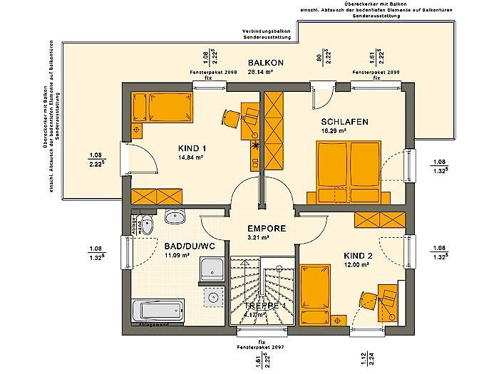 Obergeschoss SUNSHINE 125 V7 von Living Fertighaus GmbH