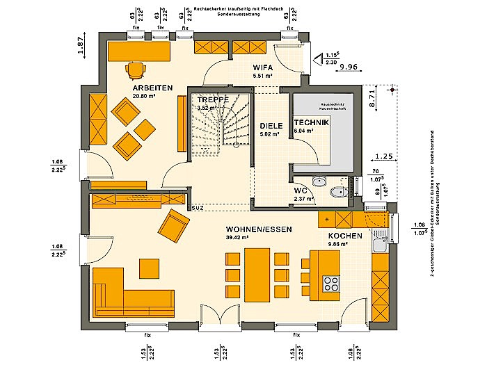 Erdgeschoss SUNSHINE 143 V2 von Living Fertighaus GmbH