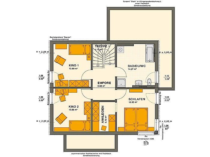 Dachgeschoss SUNSHINE 143 V5 von Living Fertighaus GmbH