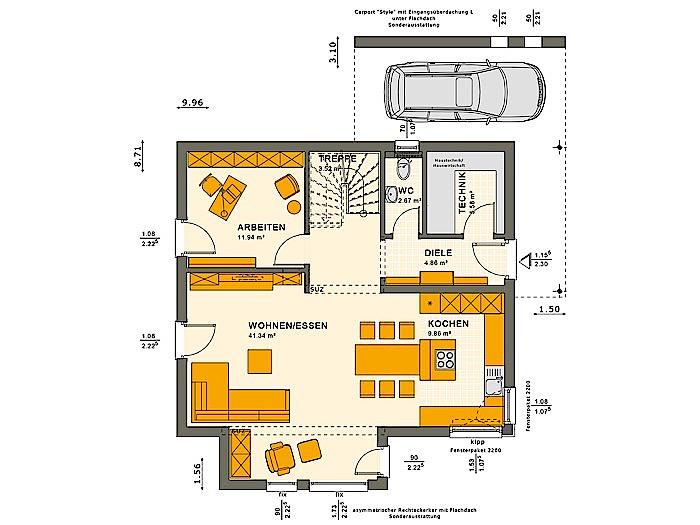 Erdgeschoss SUNSHINE 143 V5 von Living Fertighaus GmbH