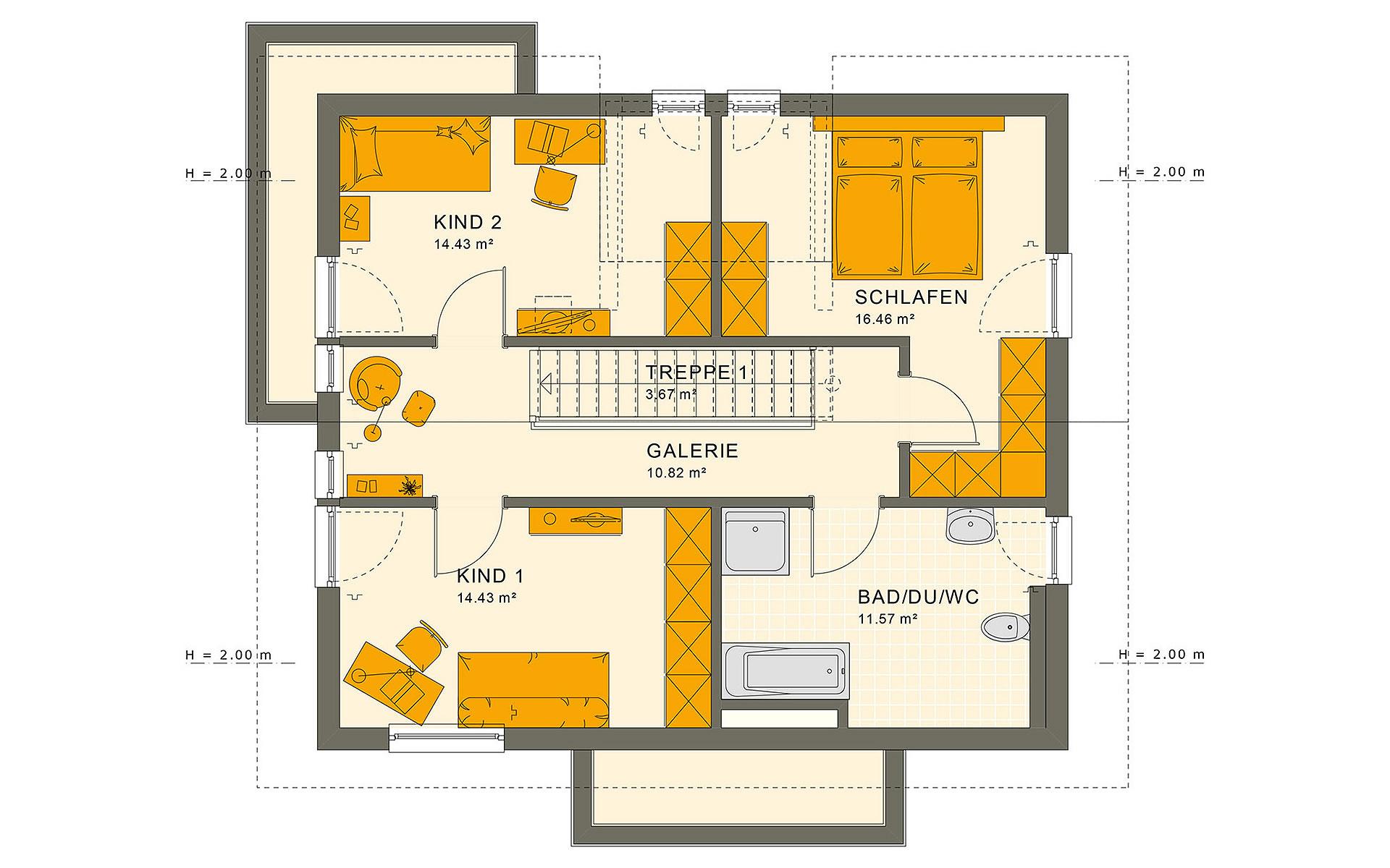 Dachgeschoss SUNSHINE 144 V4 von Living Fertighaus GmbH