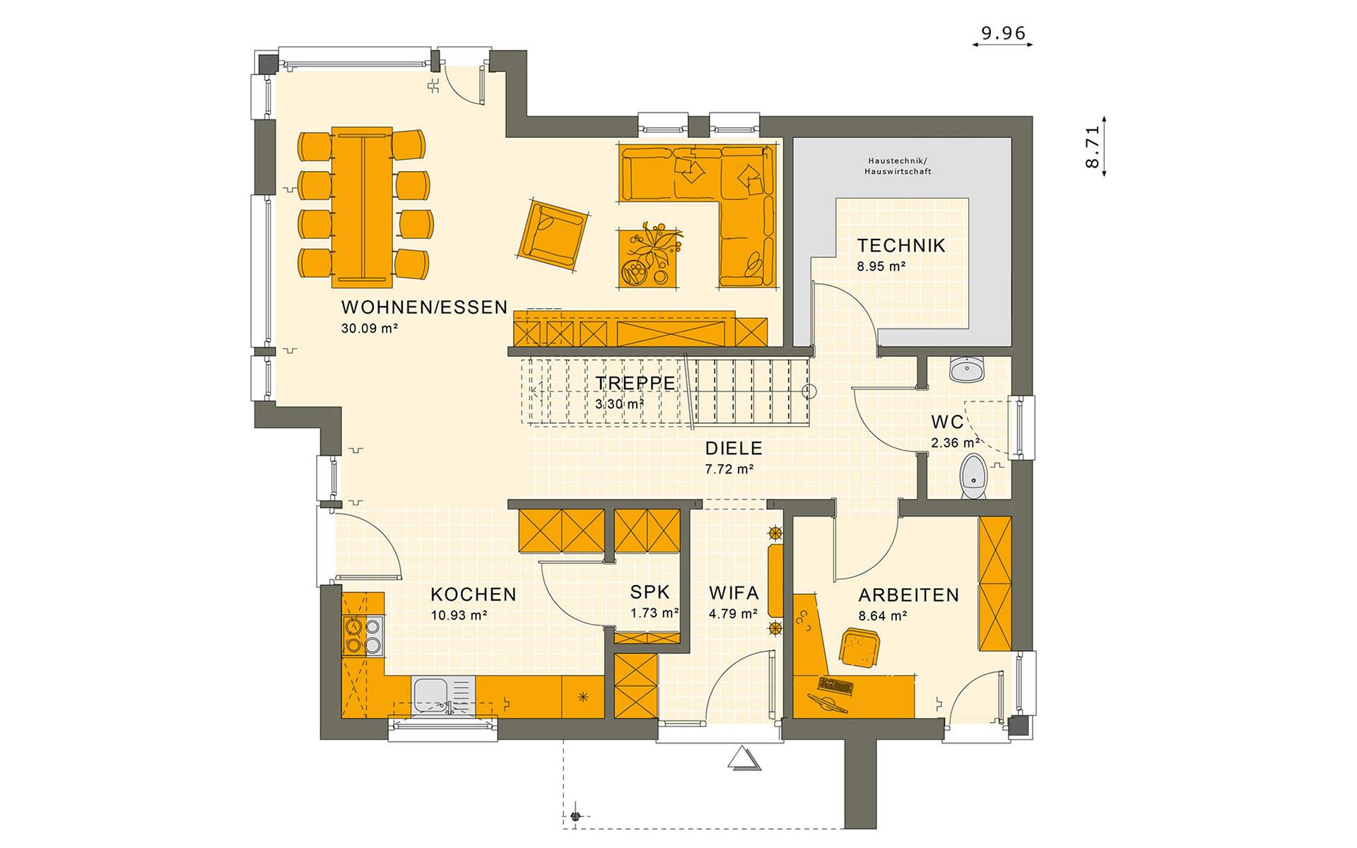 Erdgeschoss SUNSHINE 144 V4 von Living Fertighaus GmbH