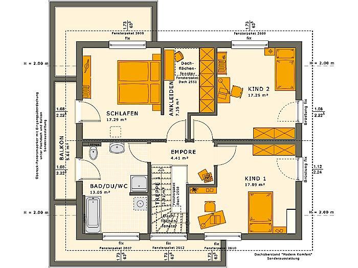 Dachgeschoss SUNSHINE 165 V4 von Living Fertighaus GmbH