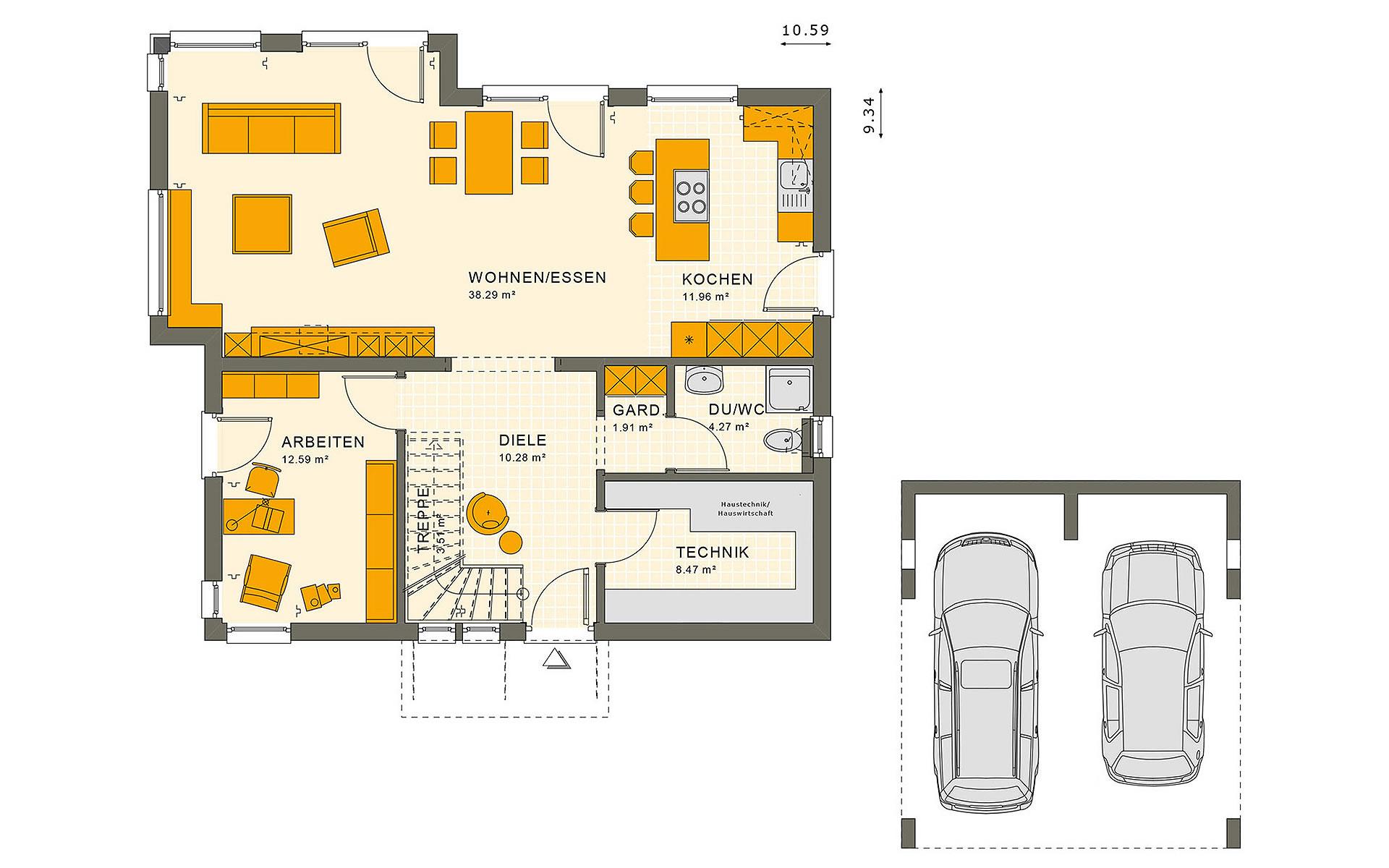 Erdgeschoss SUNSHINE 165 V2 von Living Fertighaus GmbH