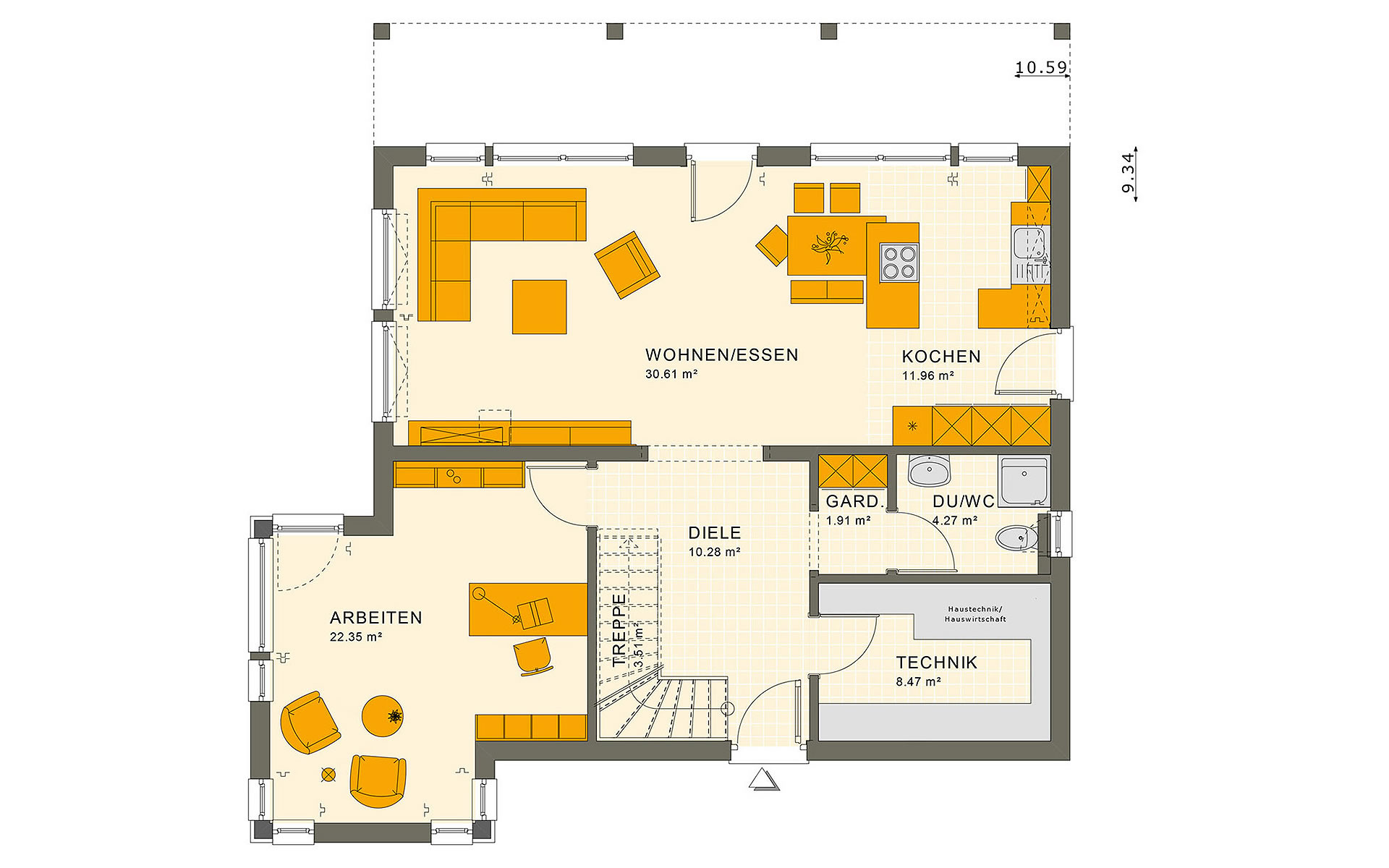 Erdgeschoss SUNSHINE 165 V7 von Living Fertighaus GmbH