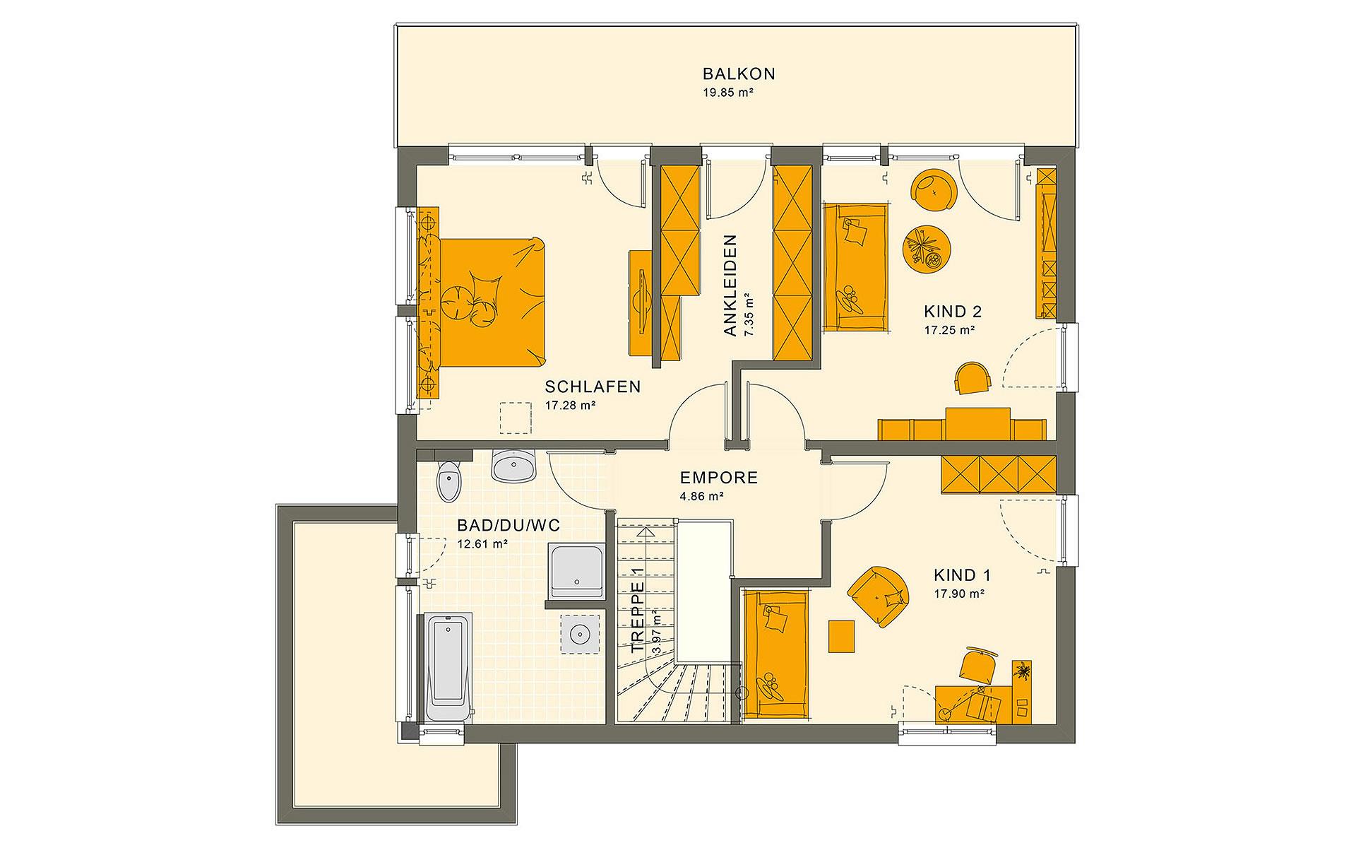 Obergeschoss SUNSHINE 165 V7 von Living Fertighaus GmbH