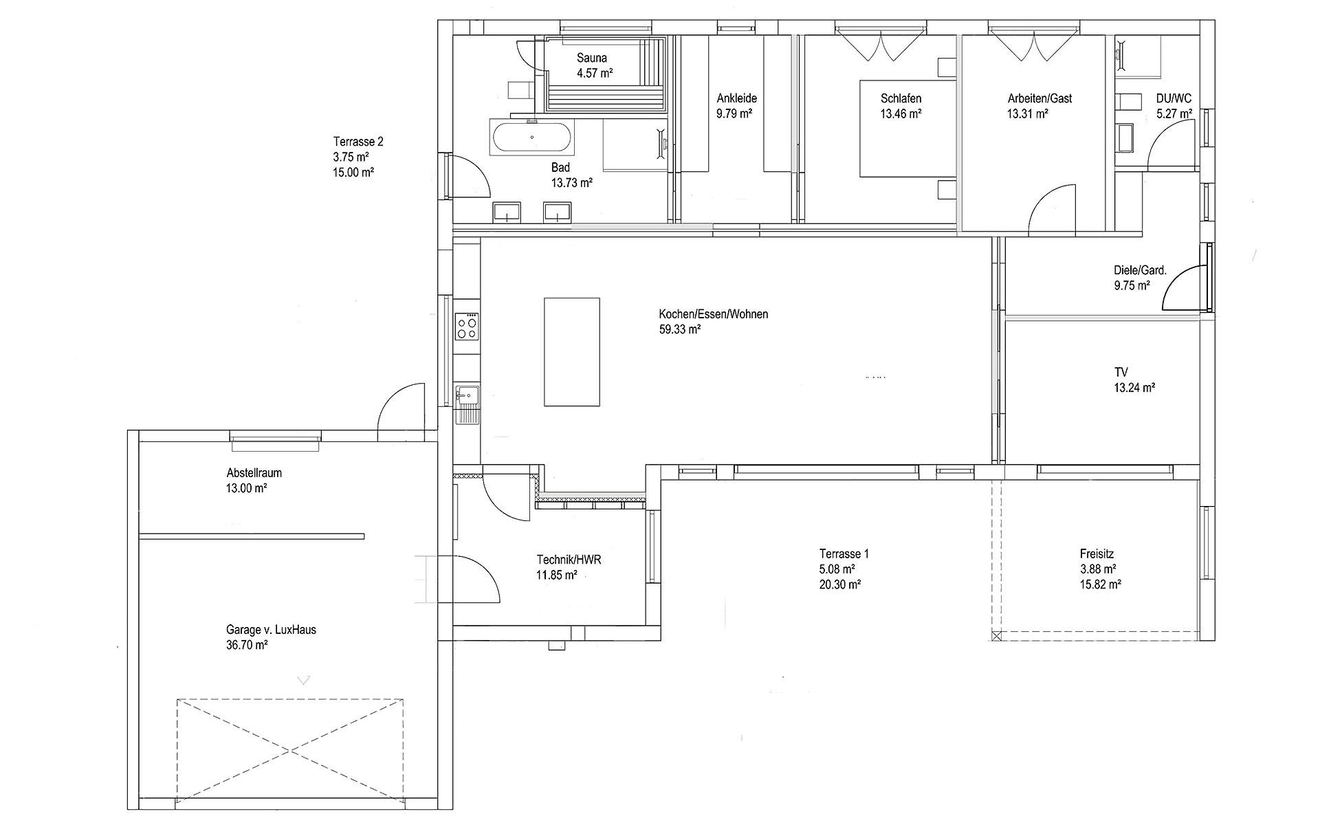 Erdgeschoss Bungalow Walmdach 167 von LUXHAUS Vertrieb GmbH & Co. KG