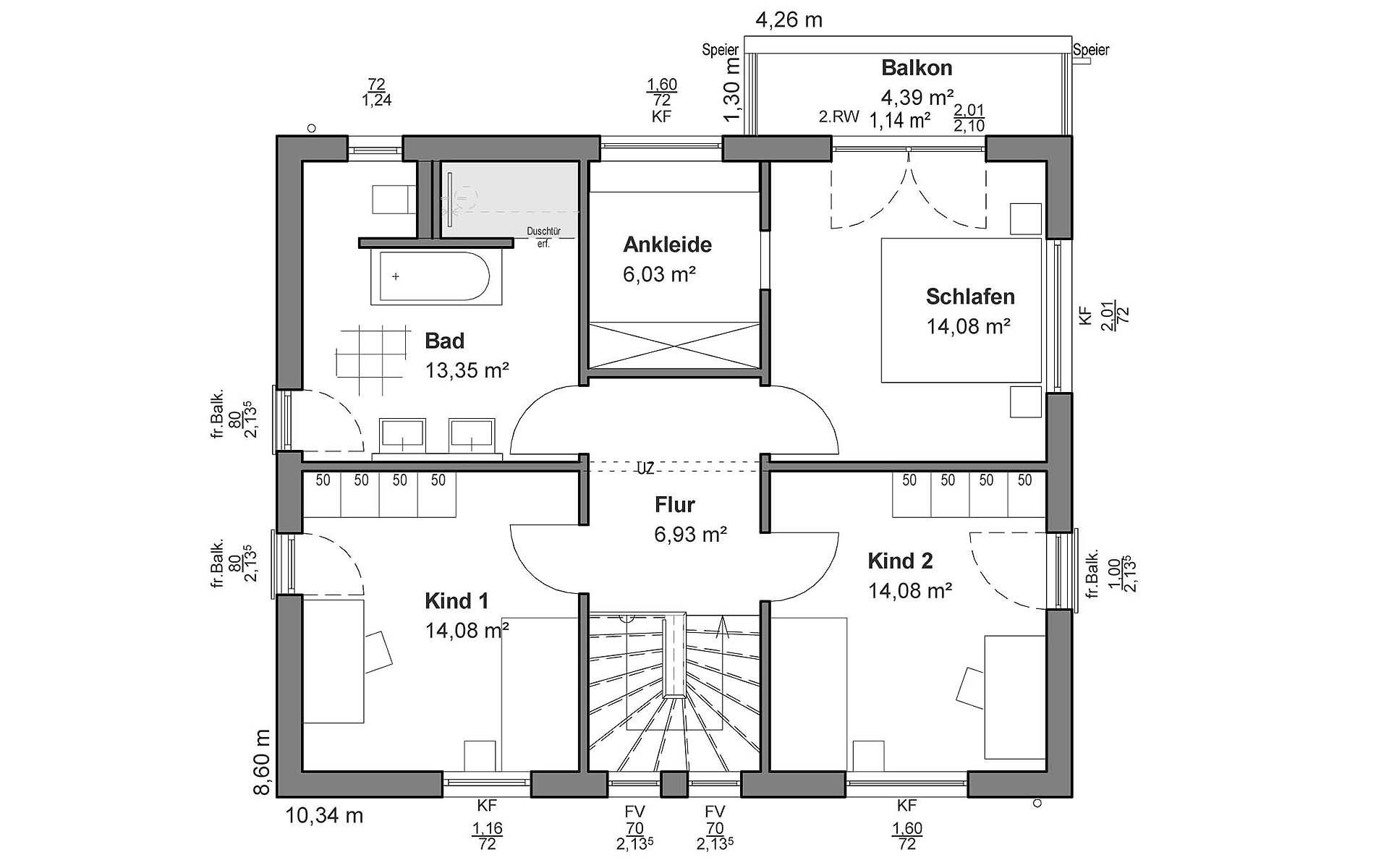 Obergeschoss Flachdach M von LUXHAUS Vertrieb GmbH & Co. KG