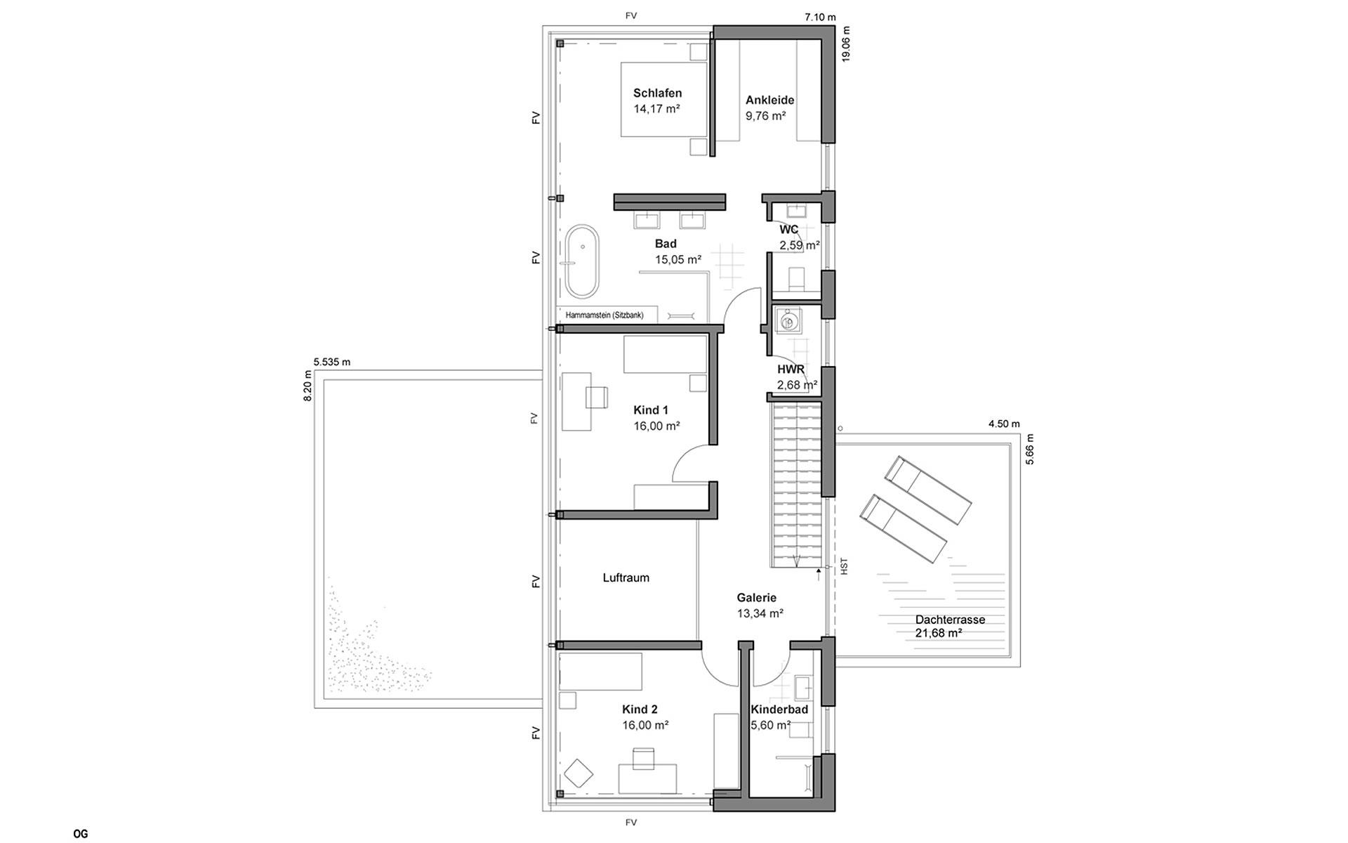 Obergeschoss Musterhaus Bad Vilbel von LUXHAUS Vertrieb GmbH & Co. KG