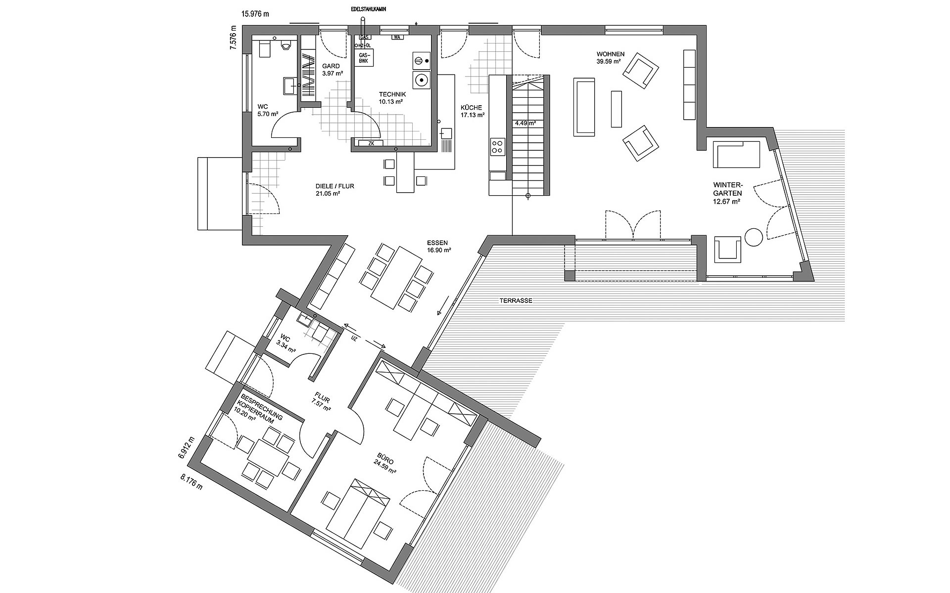 Erdgeschoss Musterhaus Georgensgmünd von LUXHAUS Vertrieb GmbH & Co. KG