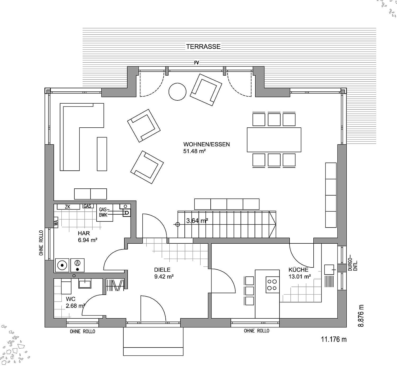 Erdgeschoss Musterhaus Hannover von LUXHAUS Vertrieb GmbH & Co. KG