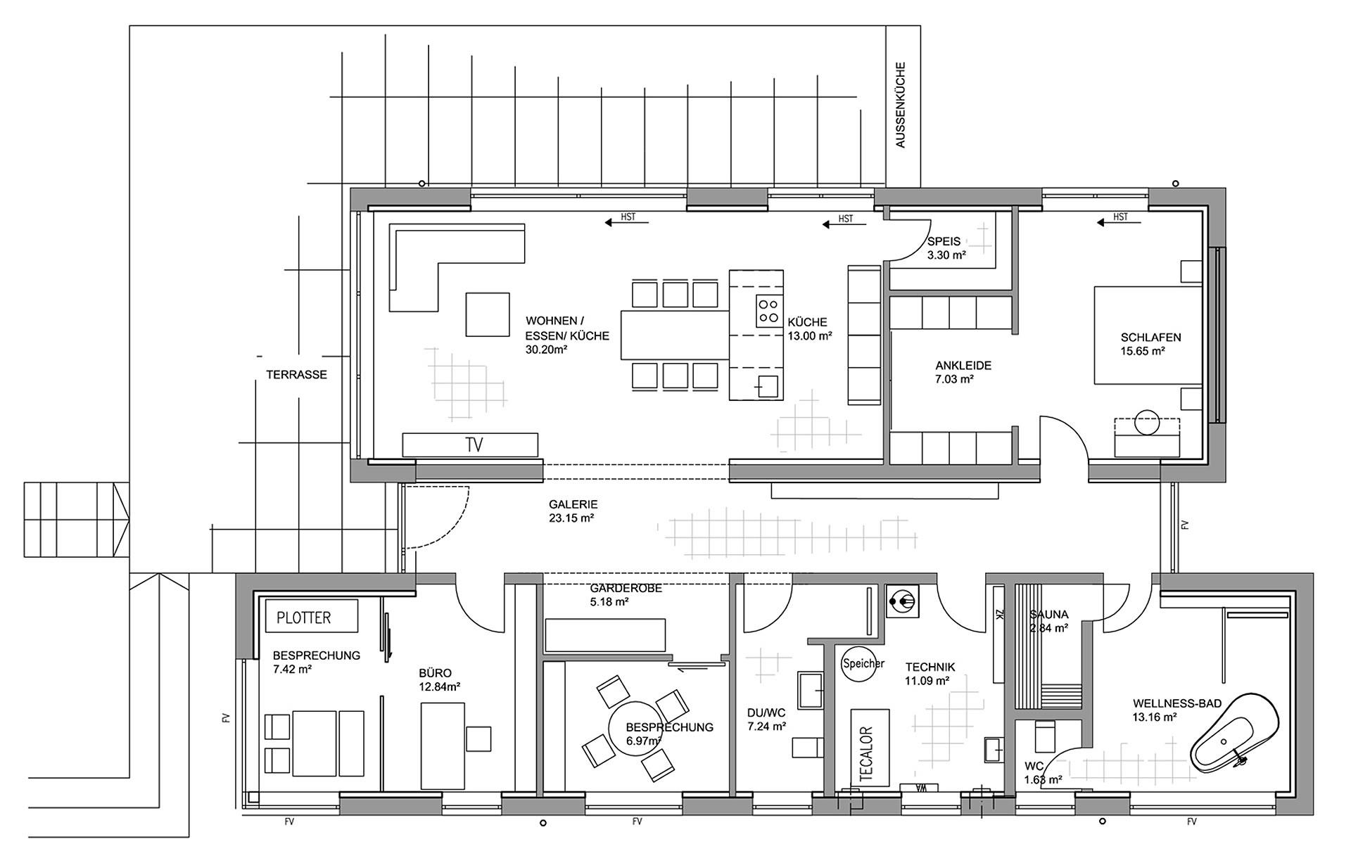 Erdgeschoss Musterhaus Fellbach von LUXHAUS Vertrieb GmbH & Co. KG