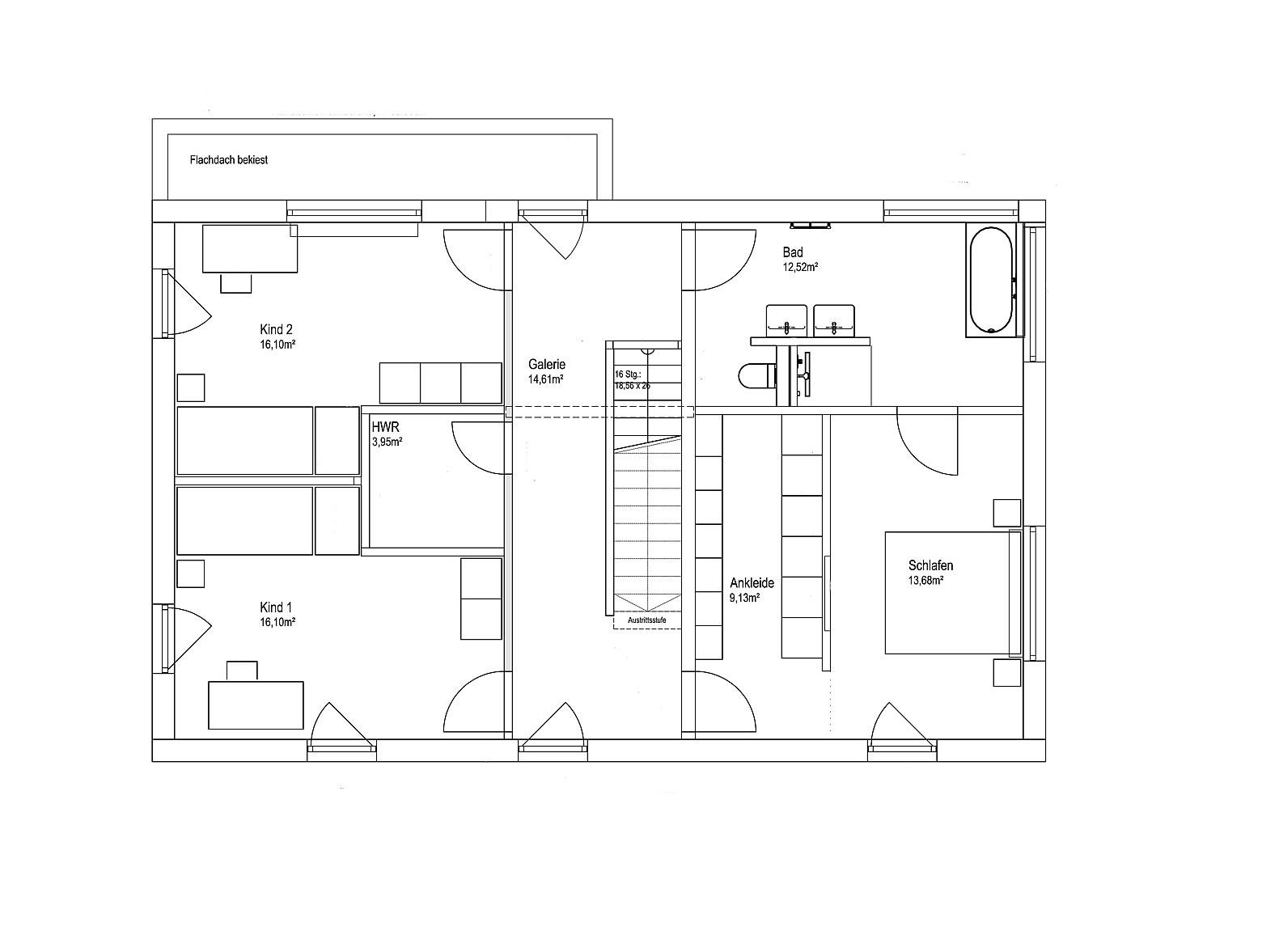 Obergeschoss Pultdach Klassik 182 von LUXHAUS Vertrieb GmbH & Co. KG