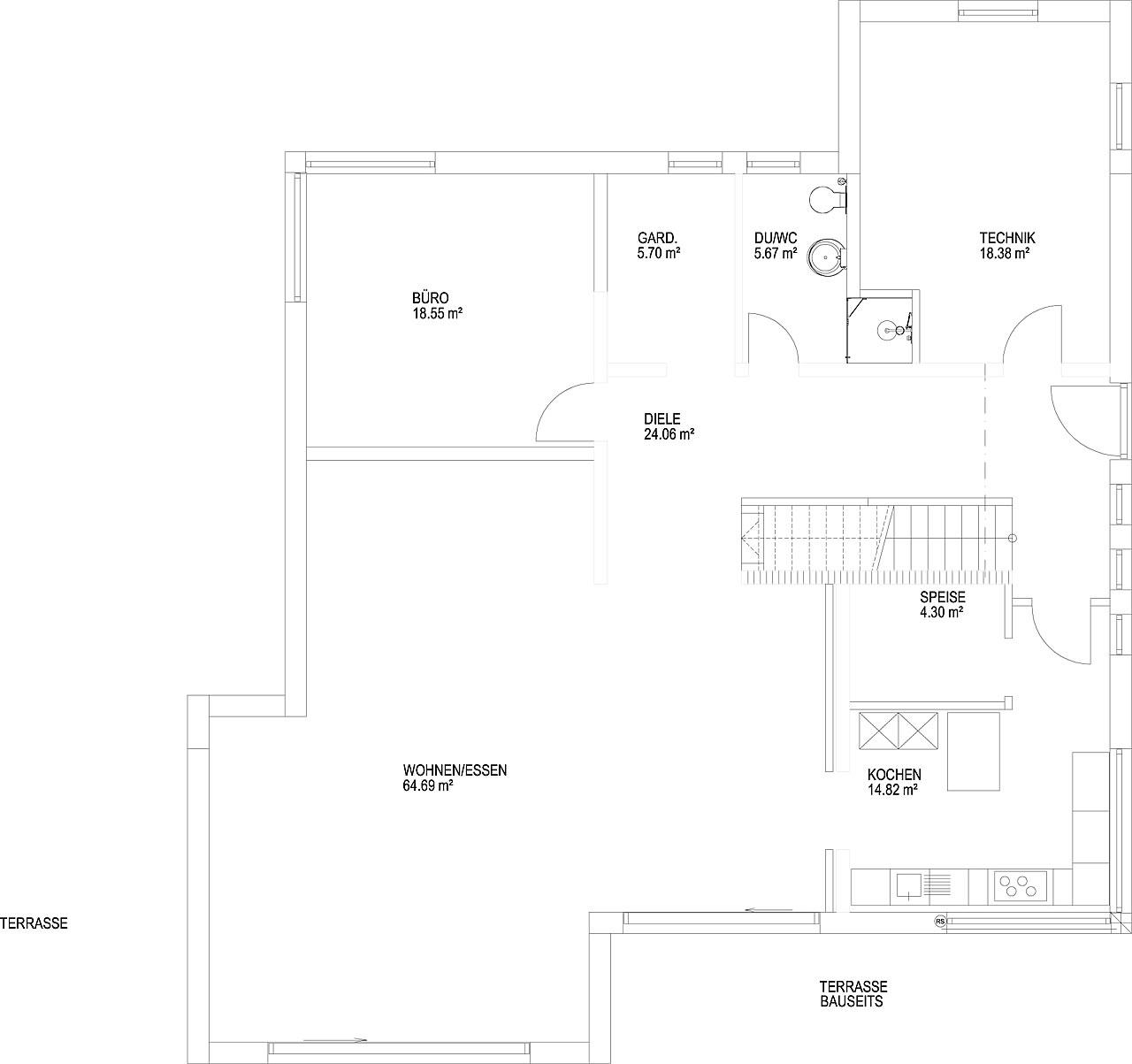Erdgeschoss Pultdach Klassik 257 von LUXHAUS Vertrieb GmbH & Co. KG