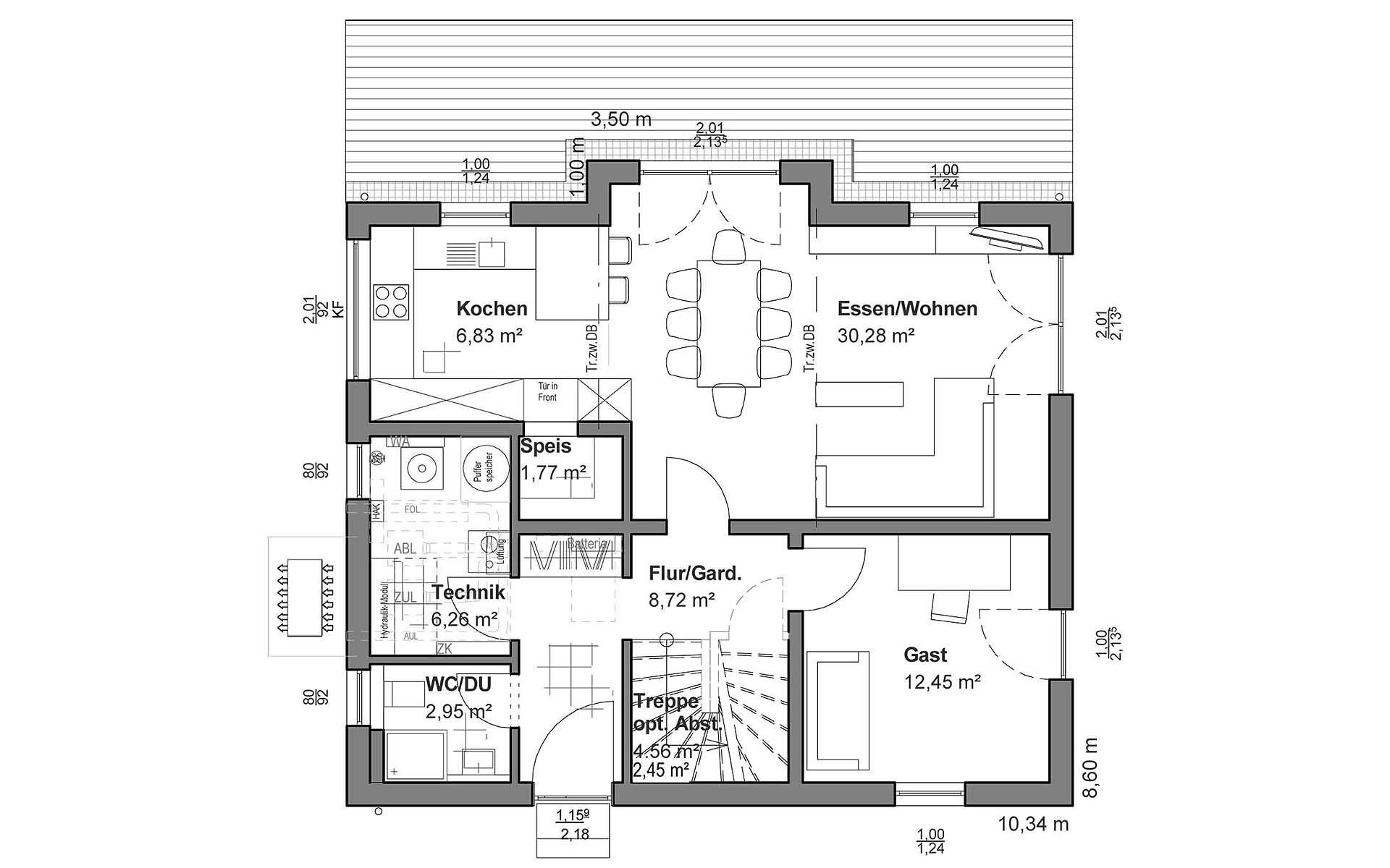 Erdgeschoss Satteldach Klassik von LUXHAUS Vertrieb GmbH & Co. KG