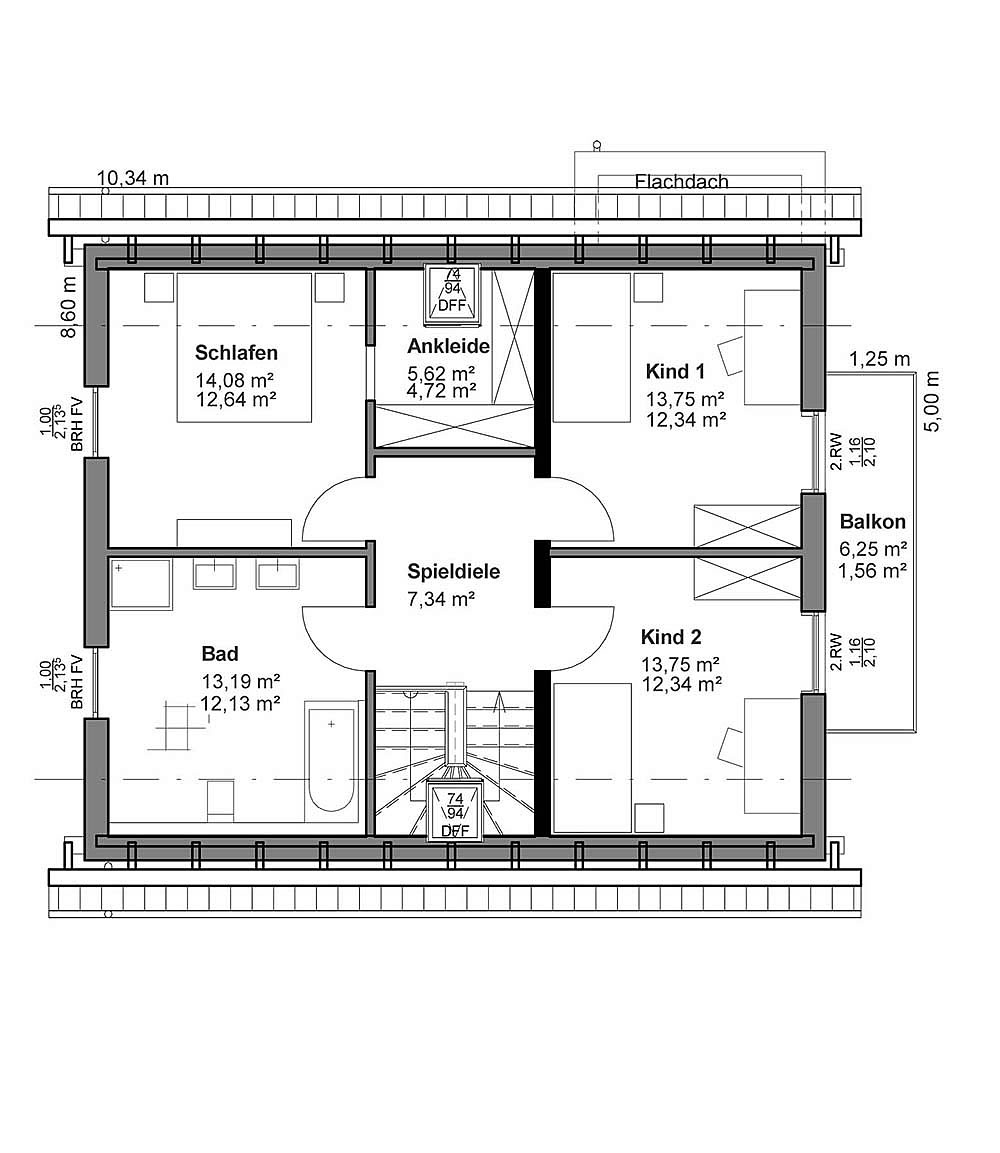 Dachgeschoss Satteldach Landhaus von LUXHAUS Vertrieb GmbH & Co. KG
