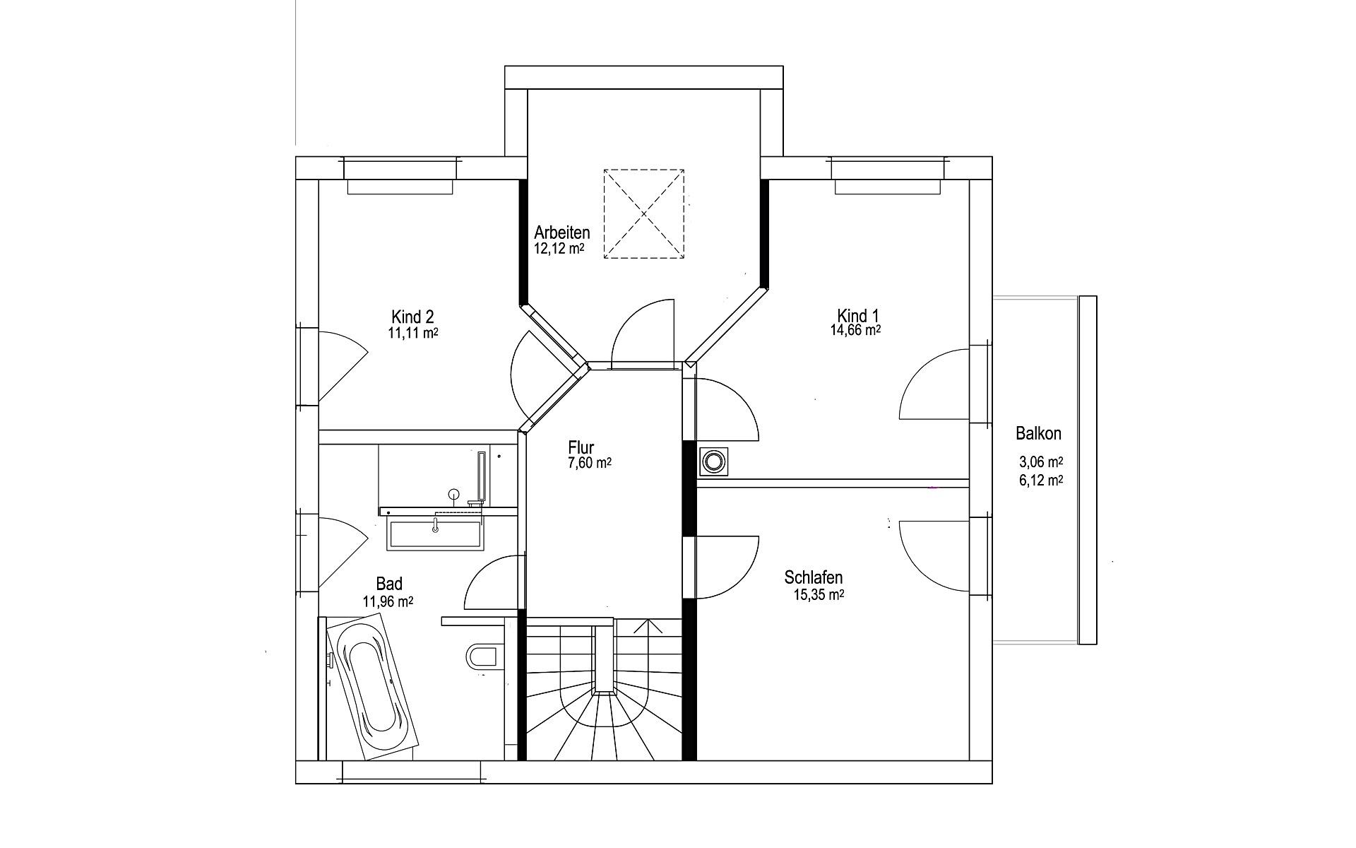 Dachgeschoss Satteldach Landhaus 143 von LUXHAUS Vertrieb GmbH & Co. KG