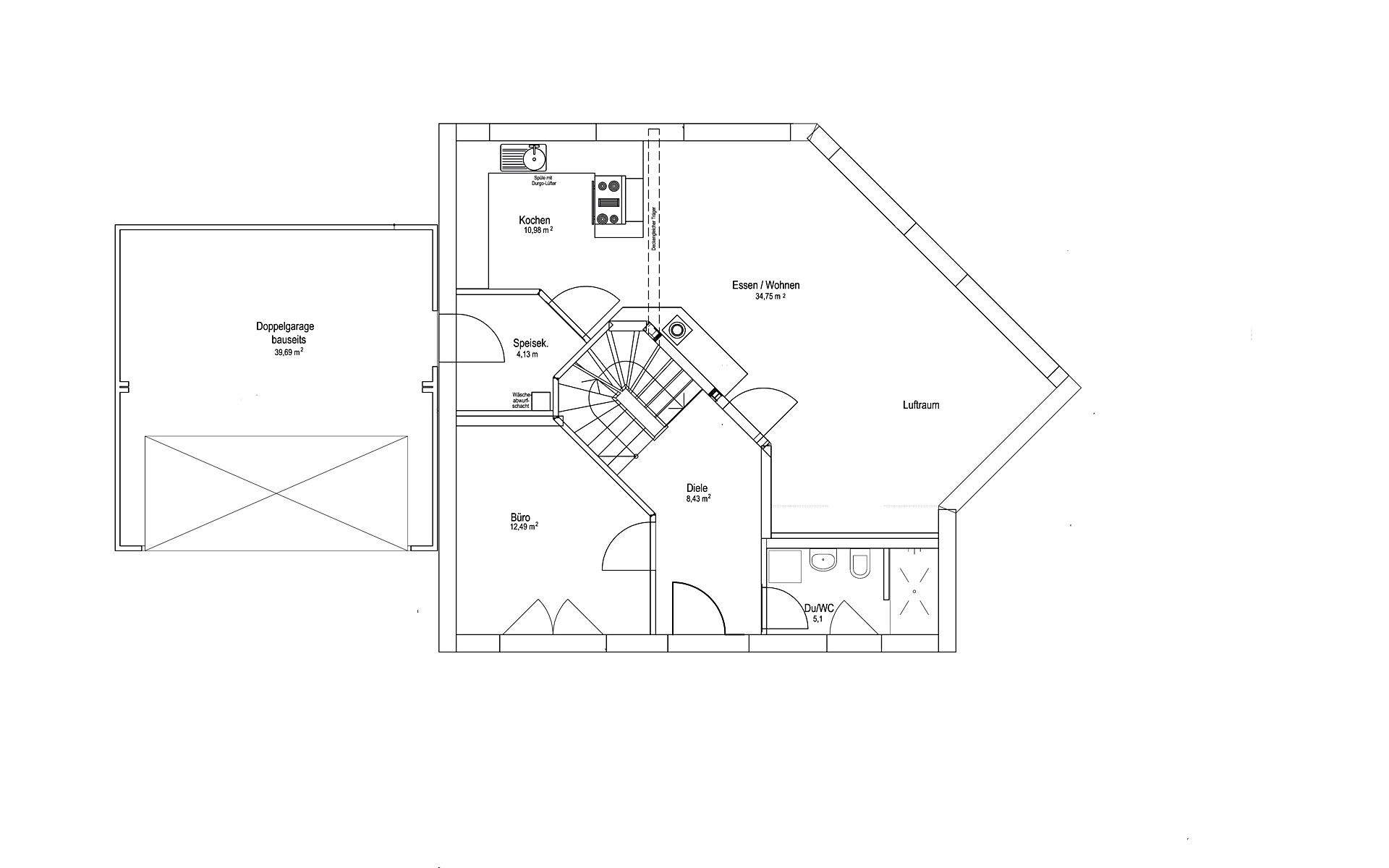Erdgeschoss Satteldach Landhaus 144 von LUXHAUS Vertrieb GmbH & Co. KG