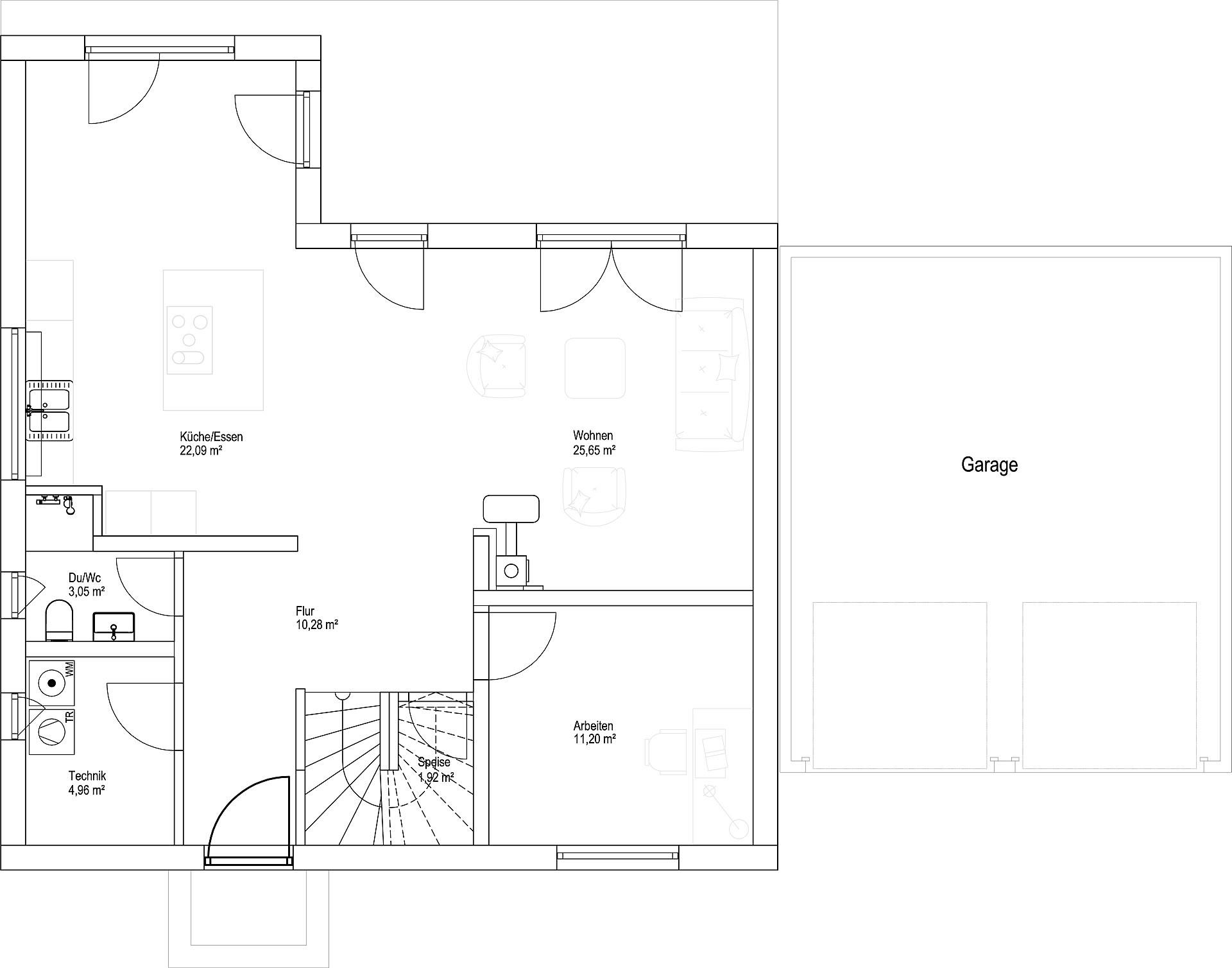 Erdgeschoss Satteldach Landhaus 151 von LUXHAUS Vertrieb GmbH & Co. KG