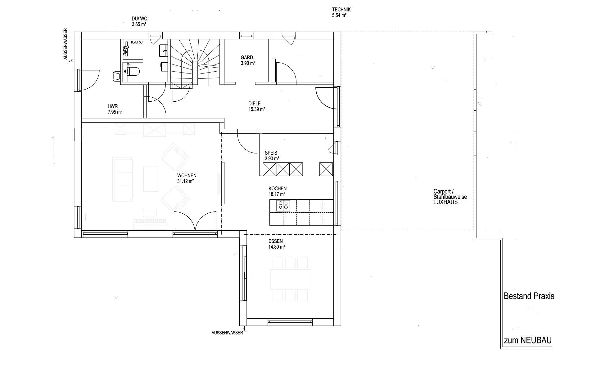Erdgeschoss Satteldach Landhaus 200 von LUXHAUS Vertrieb GmbH & Co. KG