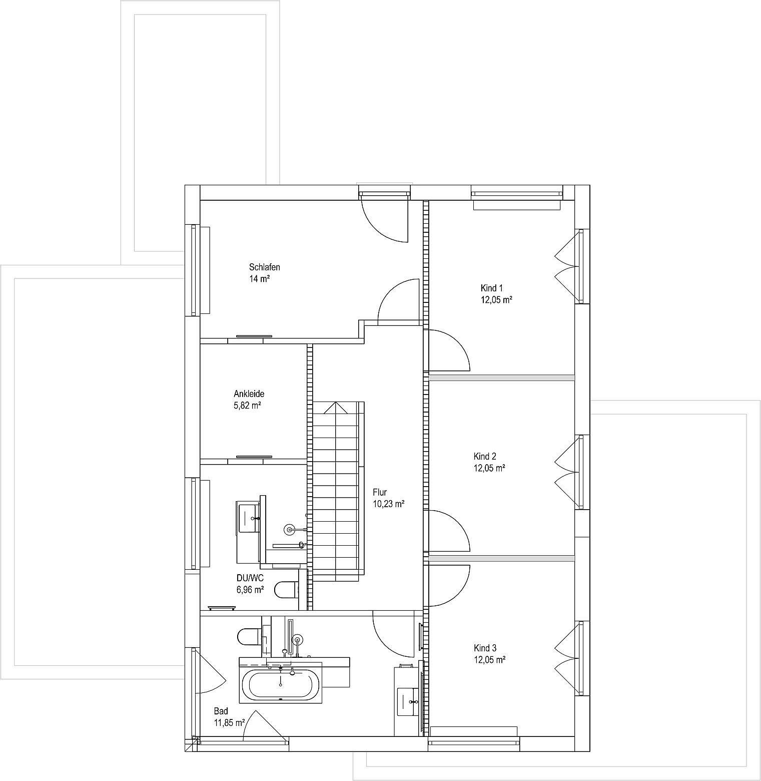 Obergeschoss Satteldach Landhaus 207 von LUXHAUS Vertrieb GmbH & Co. KG