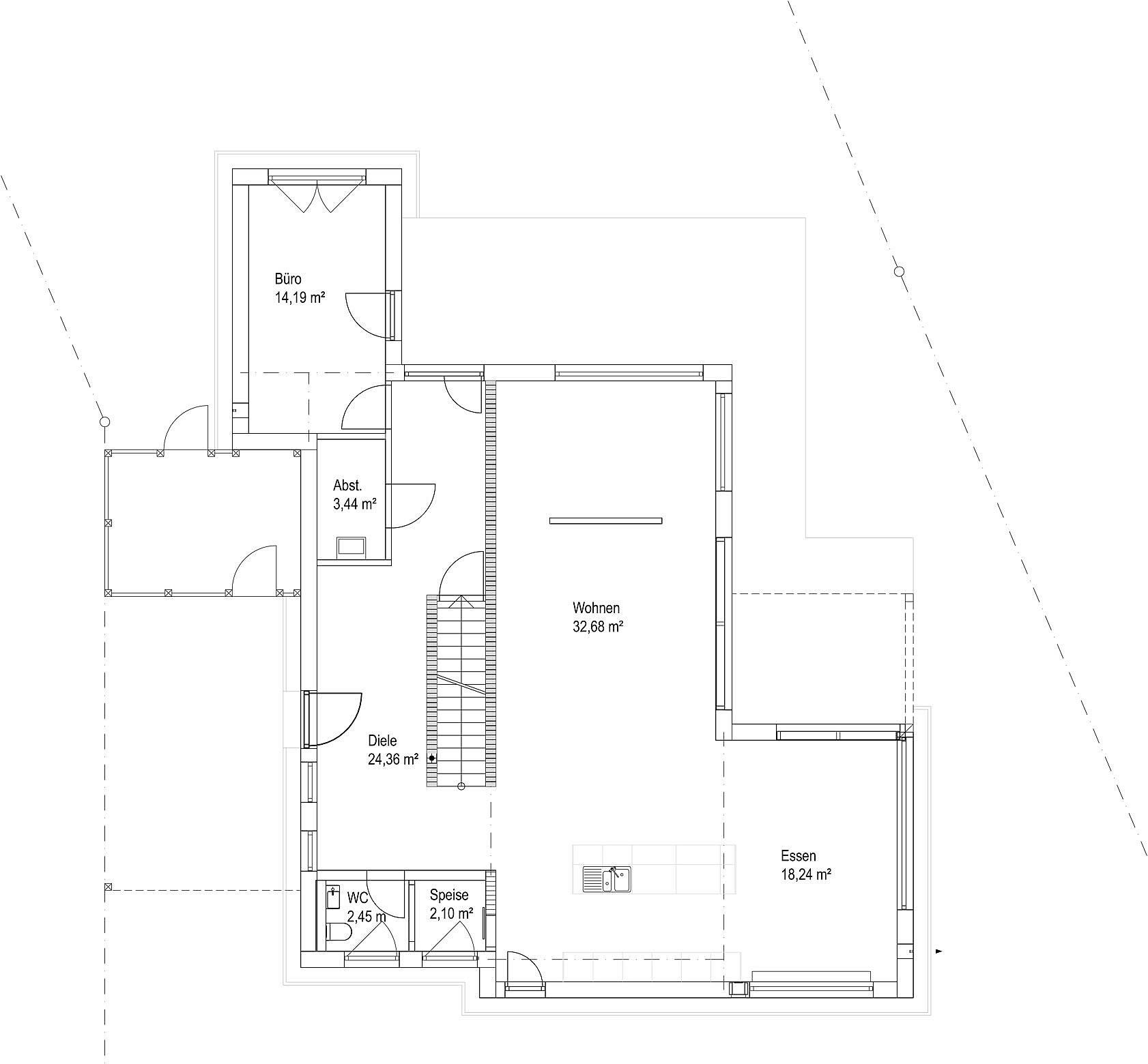Erdgeschoss Satteldach Landhaus 207 von LUXHAUS Vertrieb GmbH & Co. KG