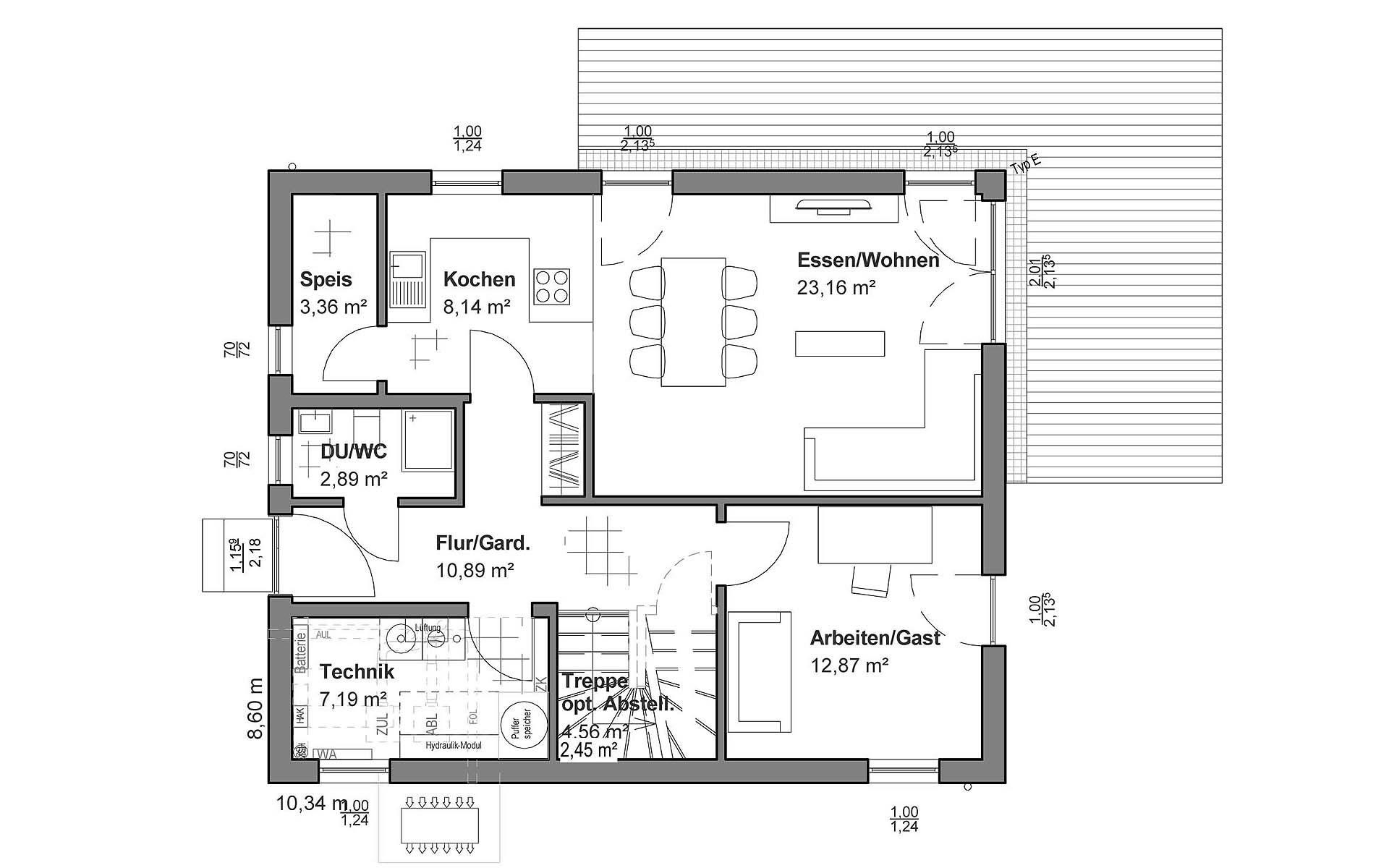 Erdgeschoss Walmdach von LUXHAUS Vertrieb GmbH & Co. KG