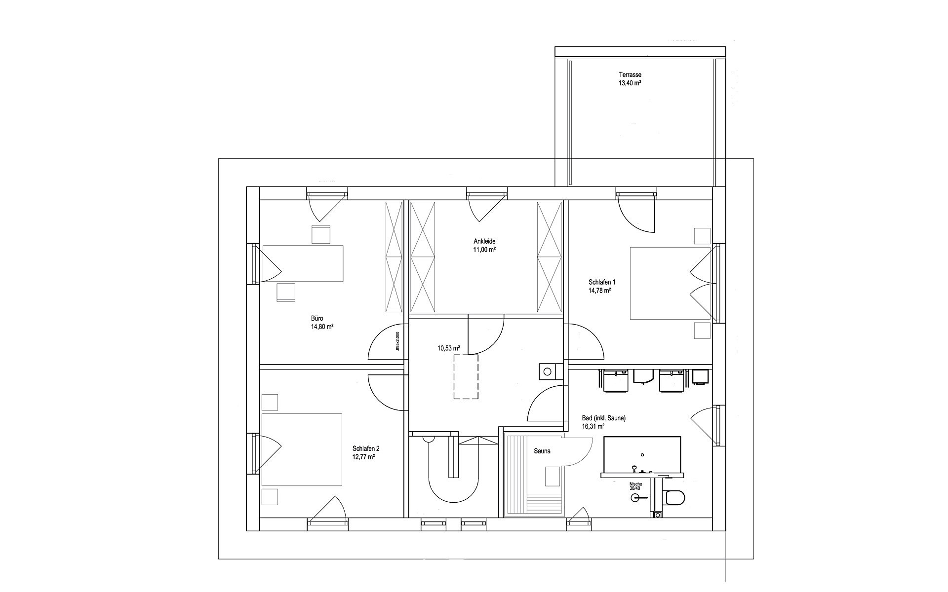 Obergeschoss Walmdach 175 von LUXHAUS Vertrieb GmbH & Co. KG