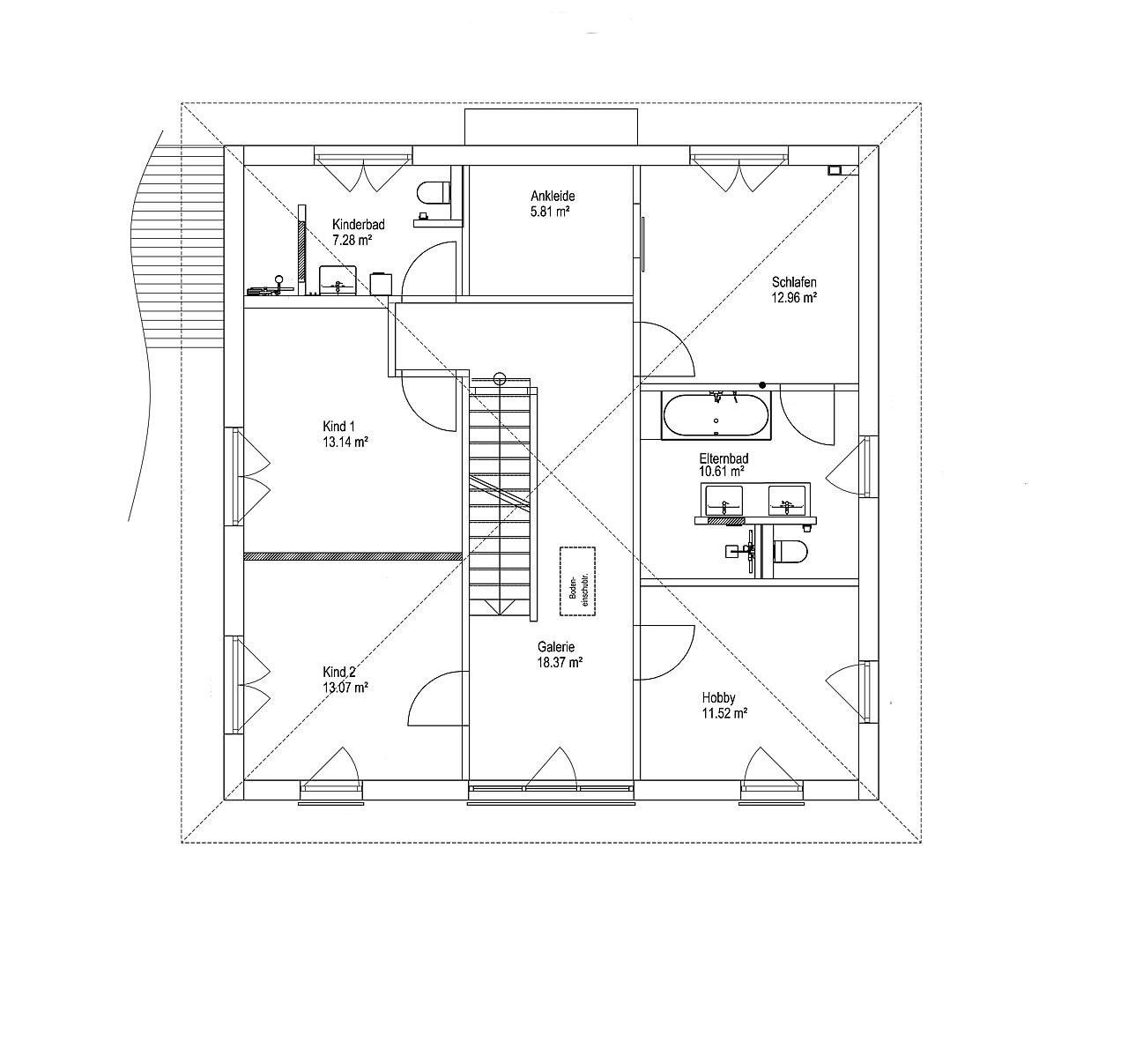 Obergeschoss Walmdach 187 von LUXHAUS Vertrieb GmbH & Co. KG