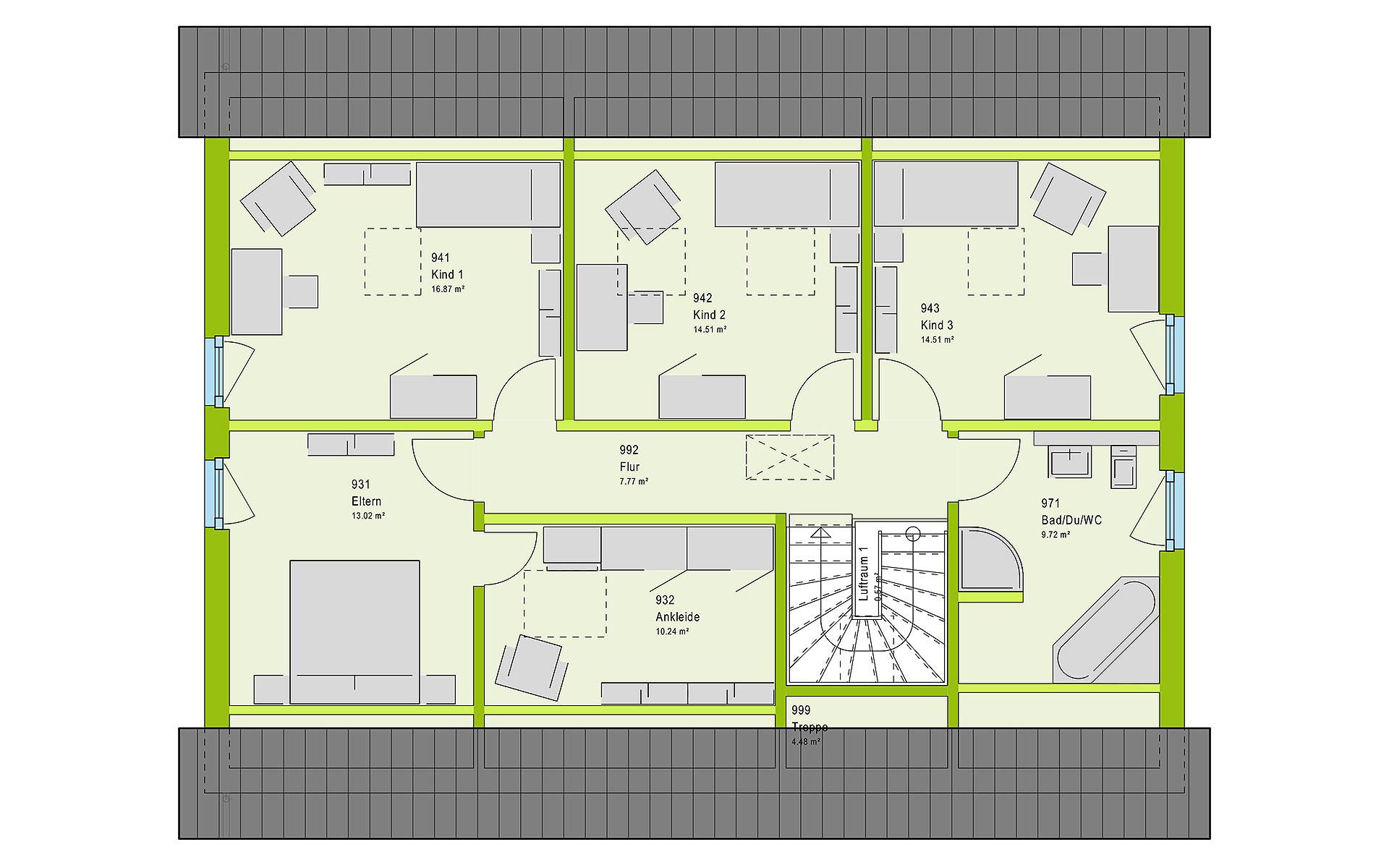 Dachgeschoss FamilyStyle 20.01 S von massa haus GmbH