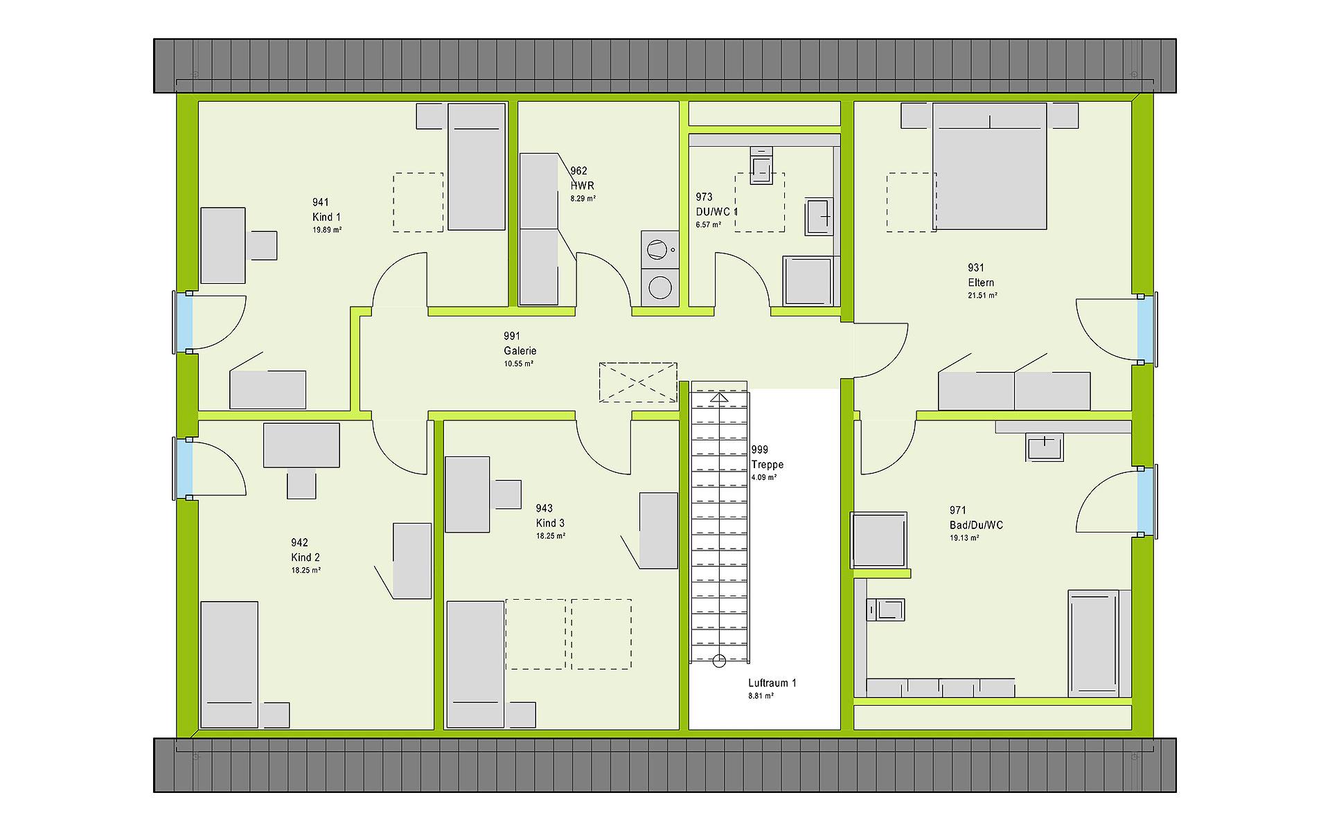 Dachgeschoss FamilyStyle 26.01 S von massa haus GmbH