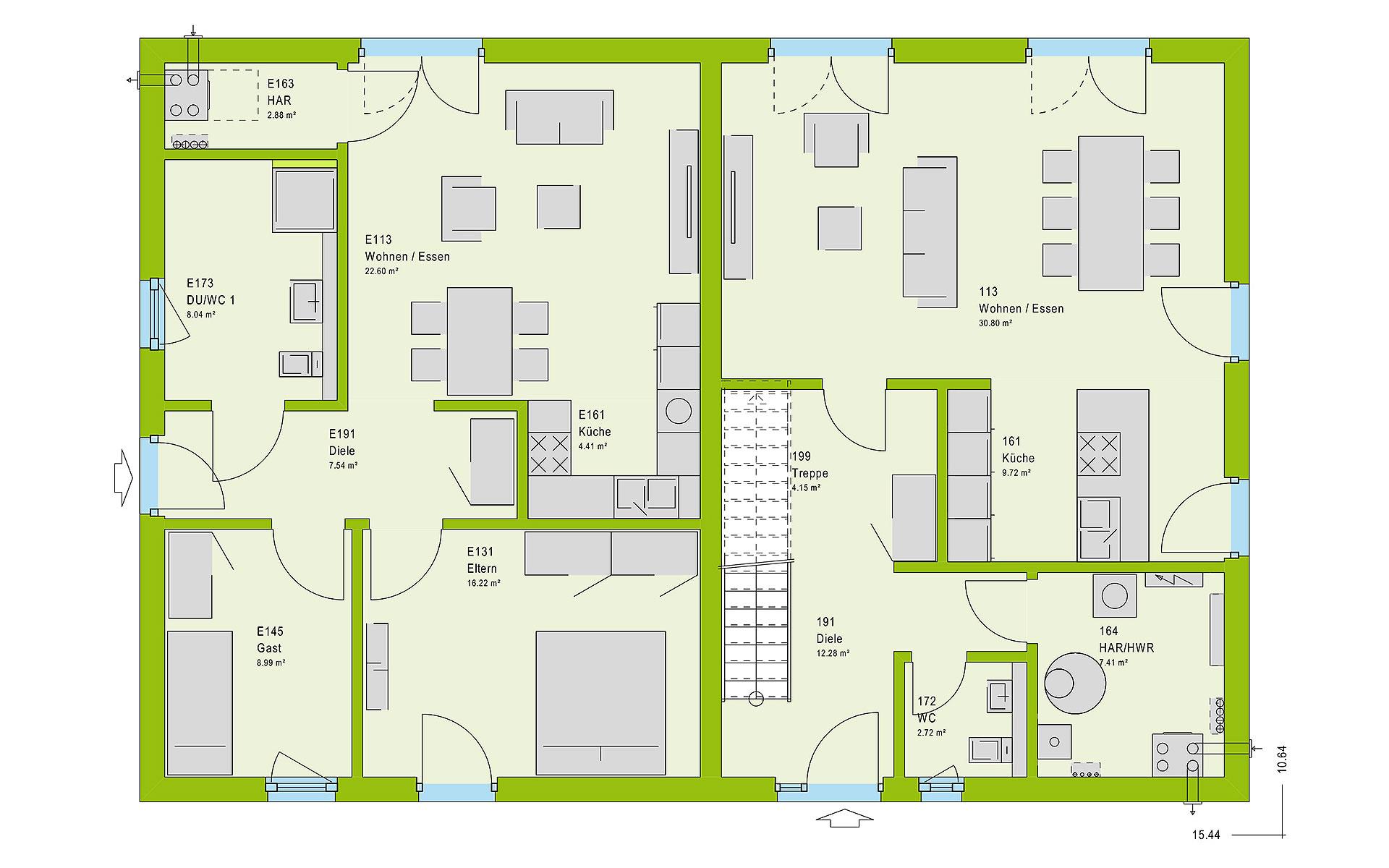 Erdgeschoss FamilyStyle 26.01 S von massa haus GmbH