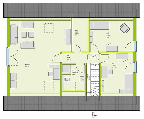 Dachgeschoss LifeStyle 4 von massa haus GmbH