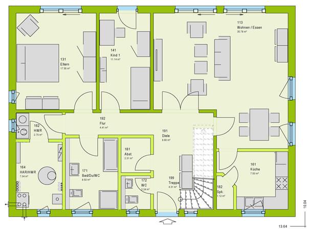 Erdgeschoss LifeStyle 4 von massa haus GmbH