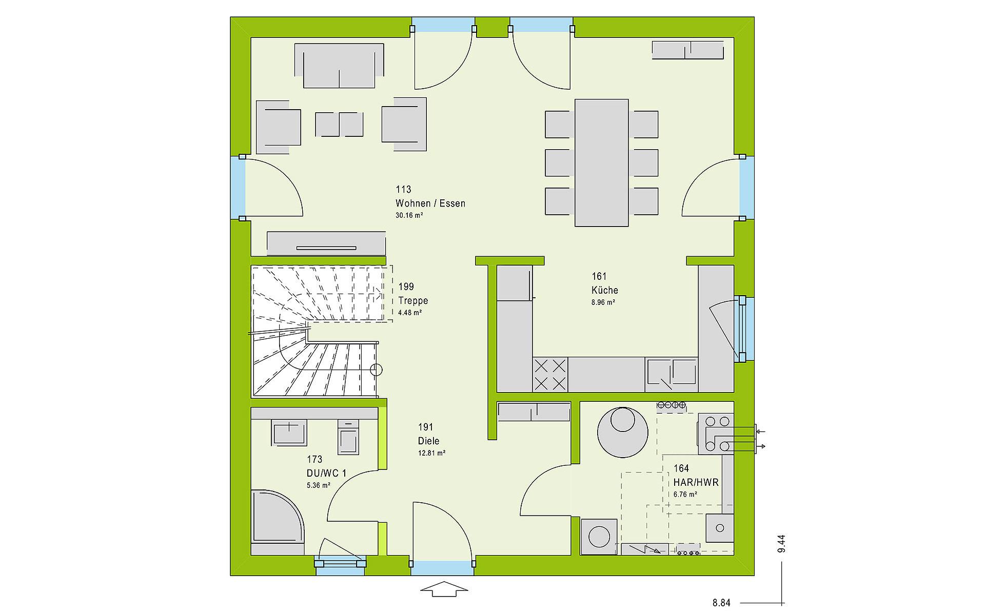 Erdgeschoss LifeStyle 13.10 F von massa haus GmbH