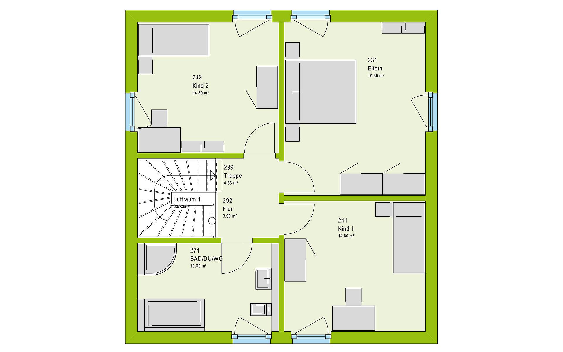 Obergeschoss LifeStyle 13.10 F von massa haus GmbH