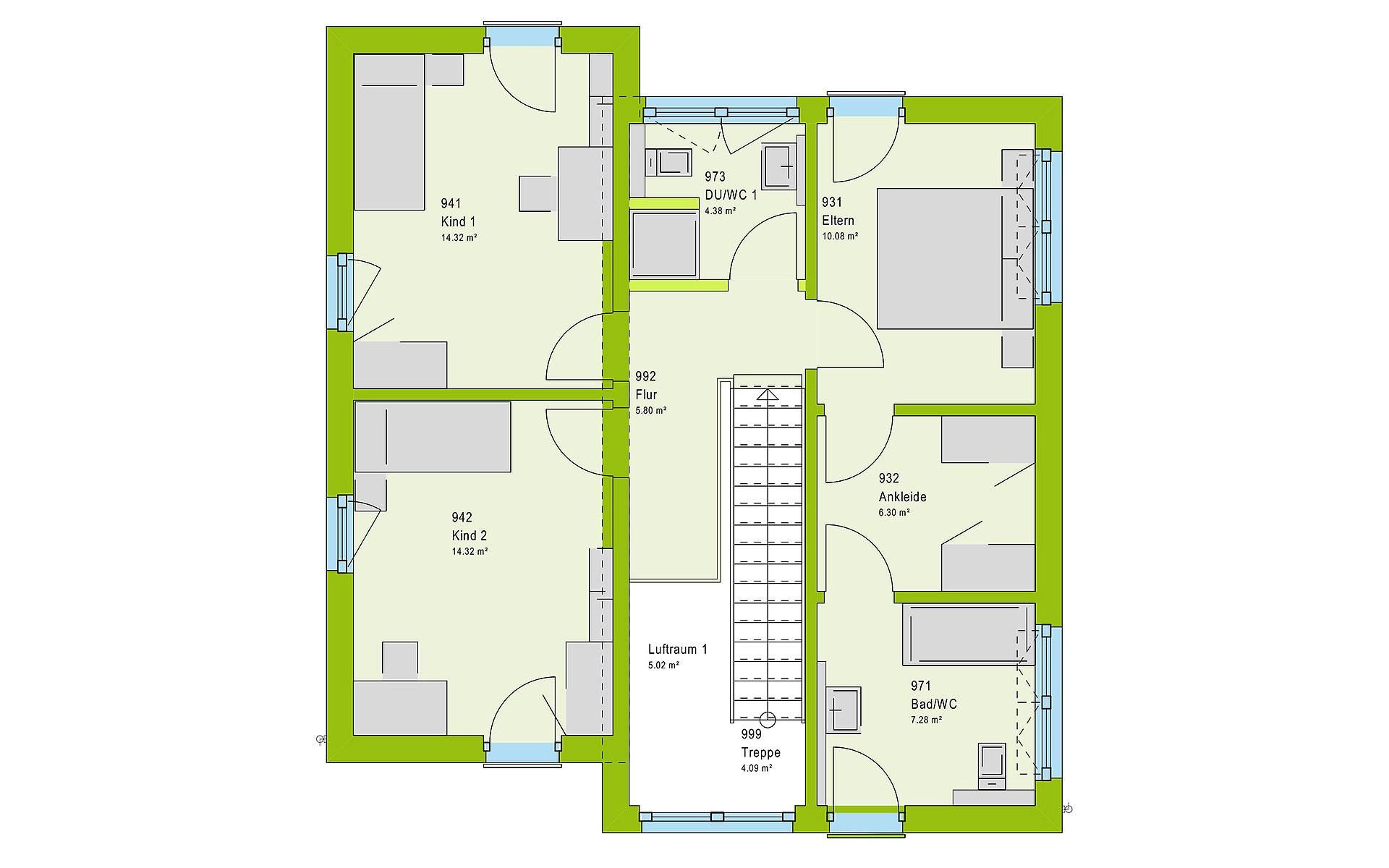 Obergeschoss LifeStyle 13.11 P von massa haus GmbH