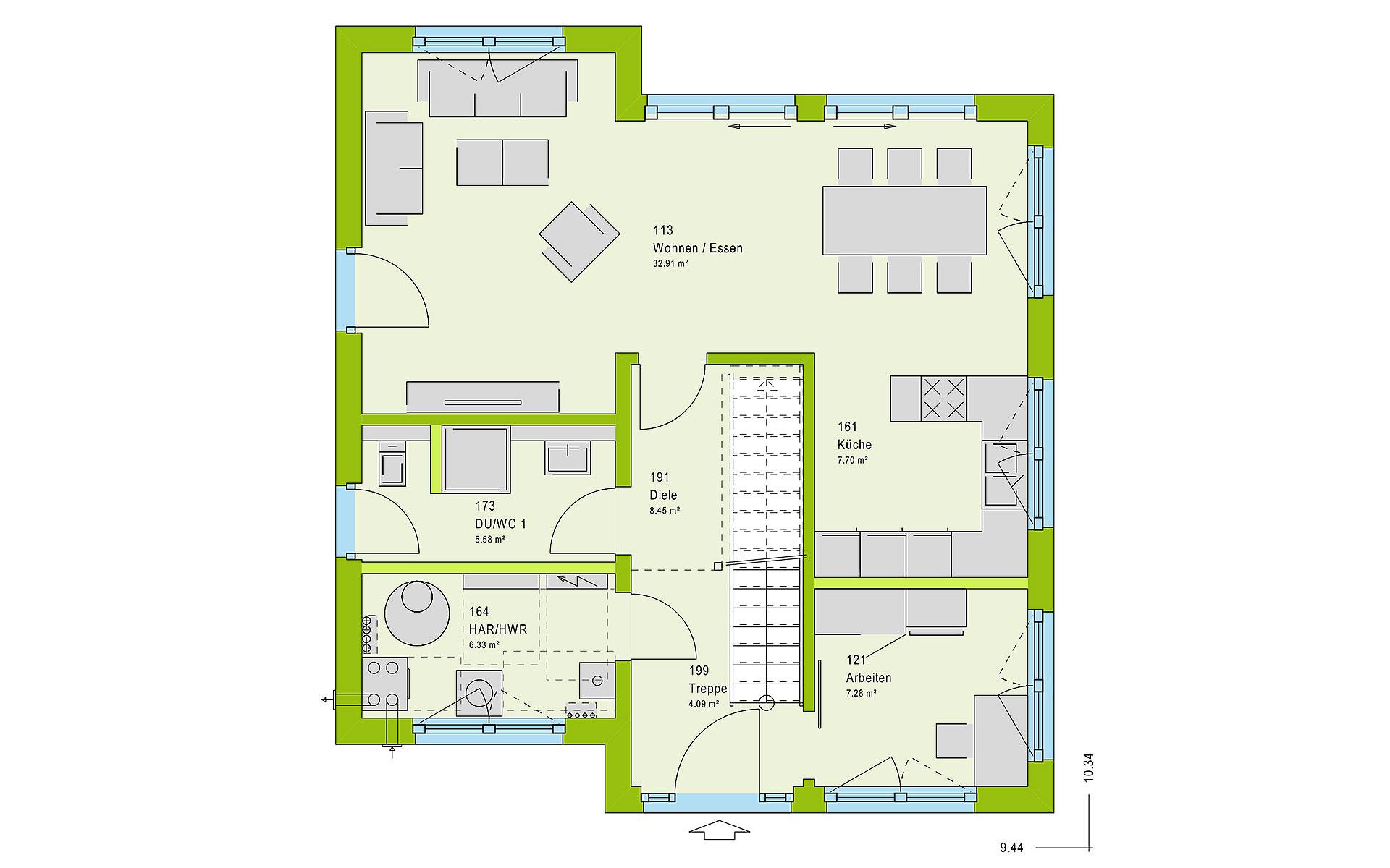 Erdgeschoss LifeStyle 13.11 P von massa haus GmbH