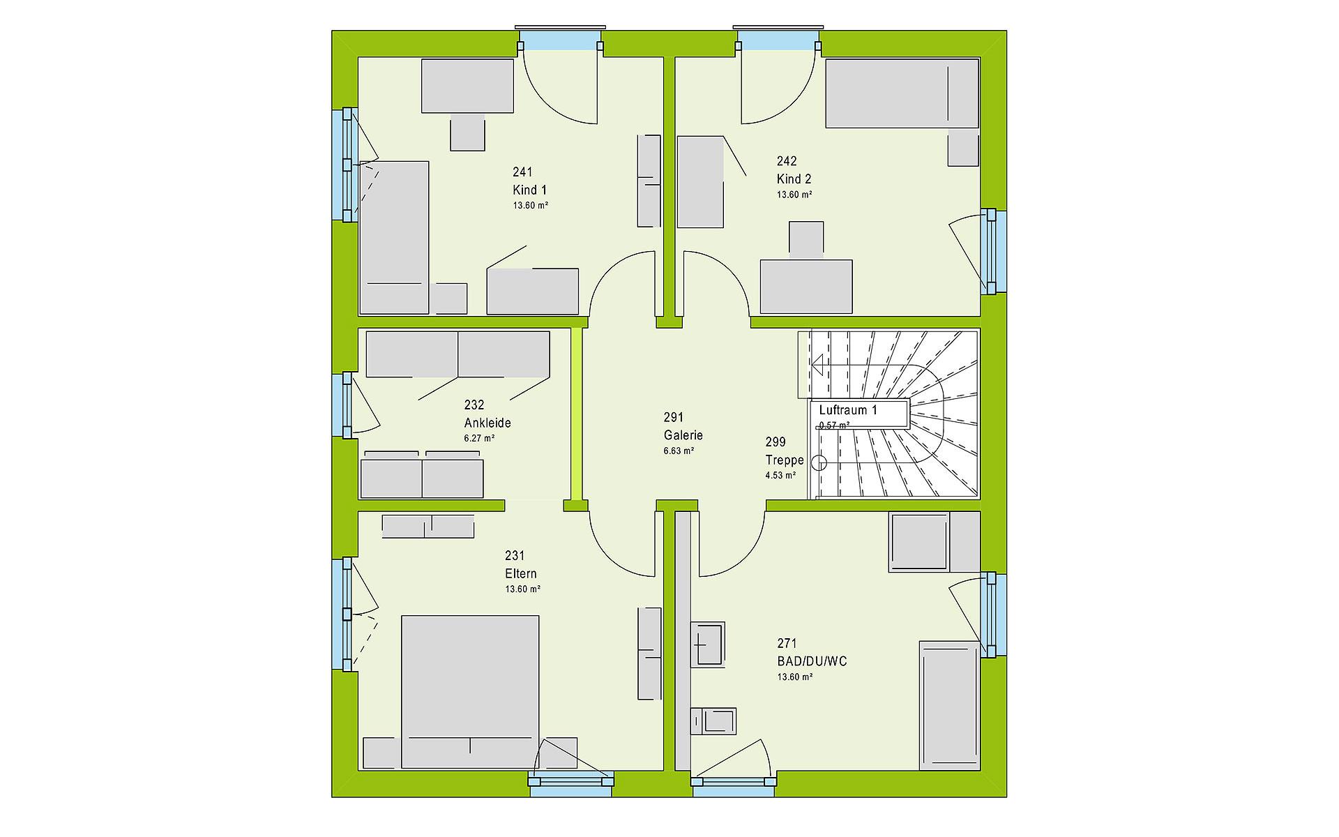 Obergeschoss LifeStyle 14.04 F von massa haus GmbH