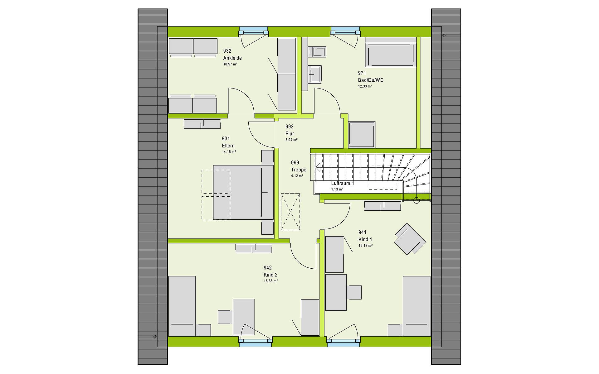 Dachgeschoss LifeStyle 16.04 S von massa haus GmbH