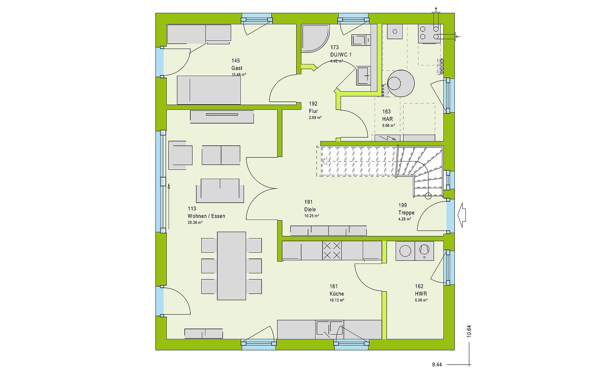Erdgeschoss LifeStyle 16.04 S von massa haus GmbH