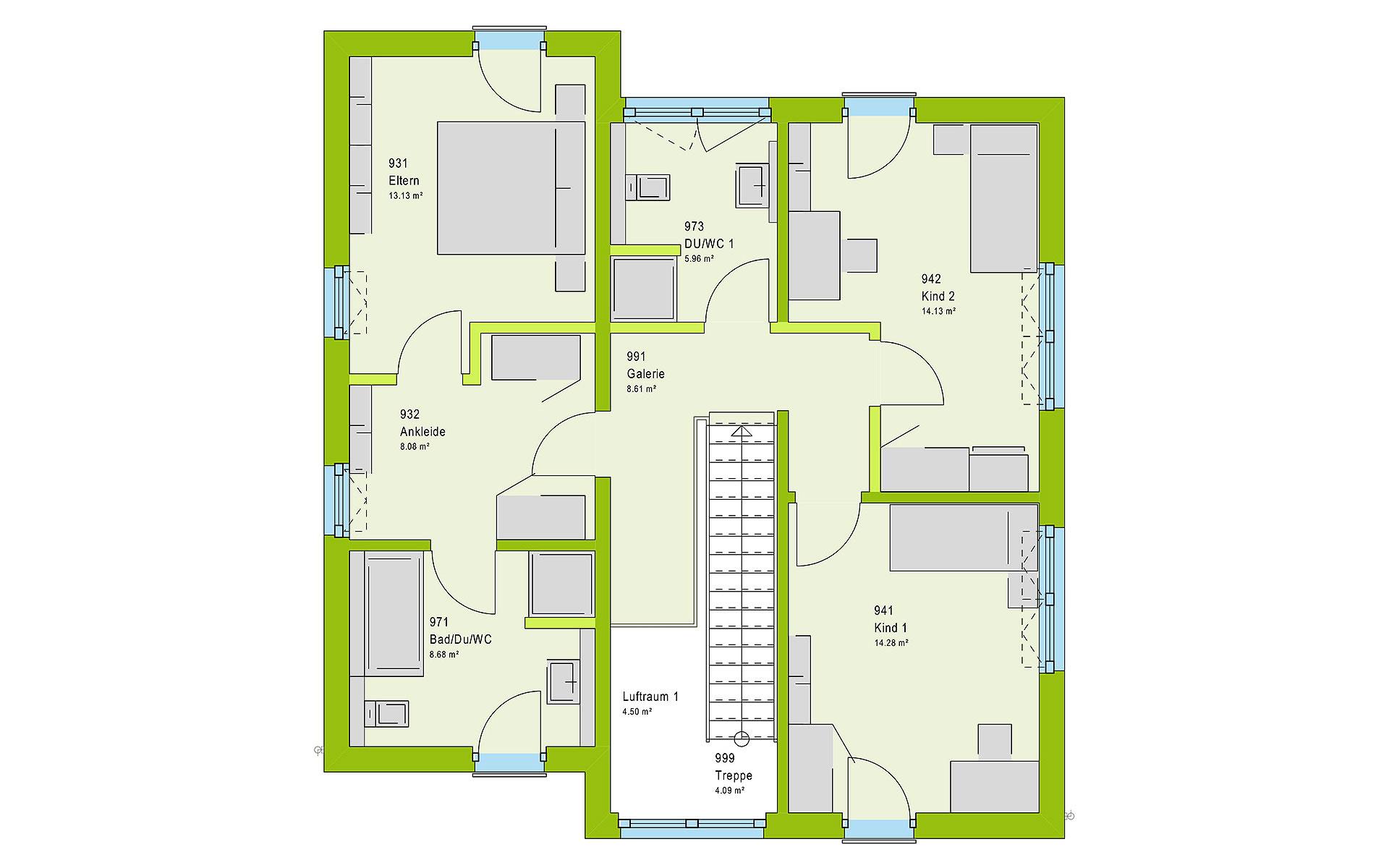 Obergeschoss LifeStyle 16.05 P von massa haus GmbH
