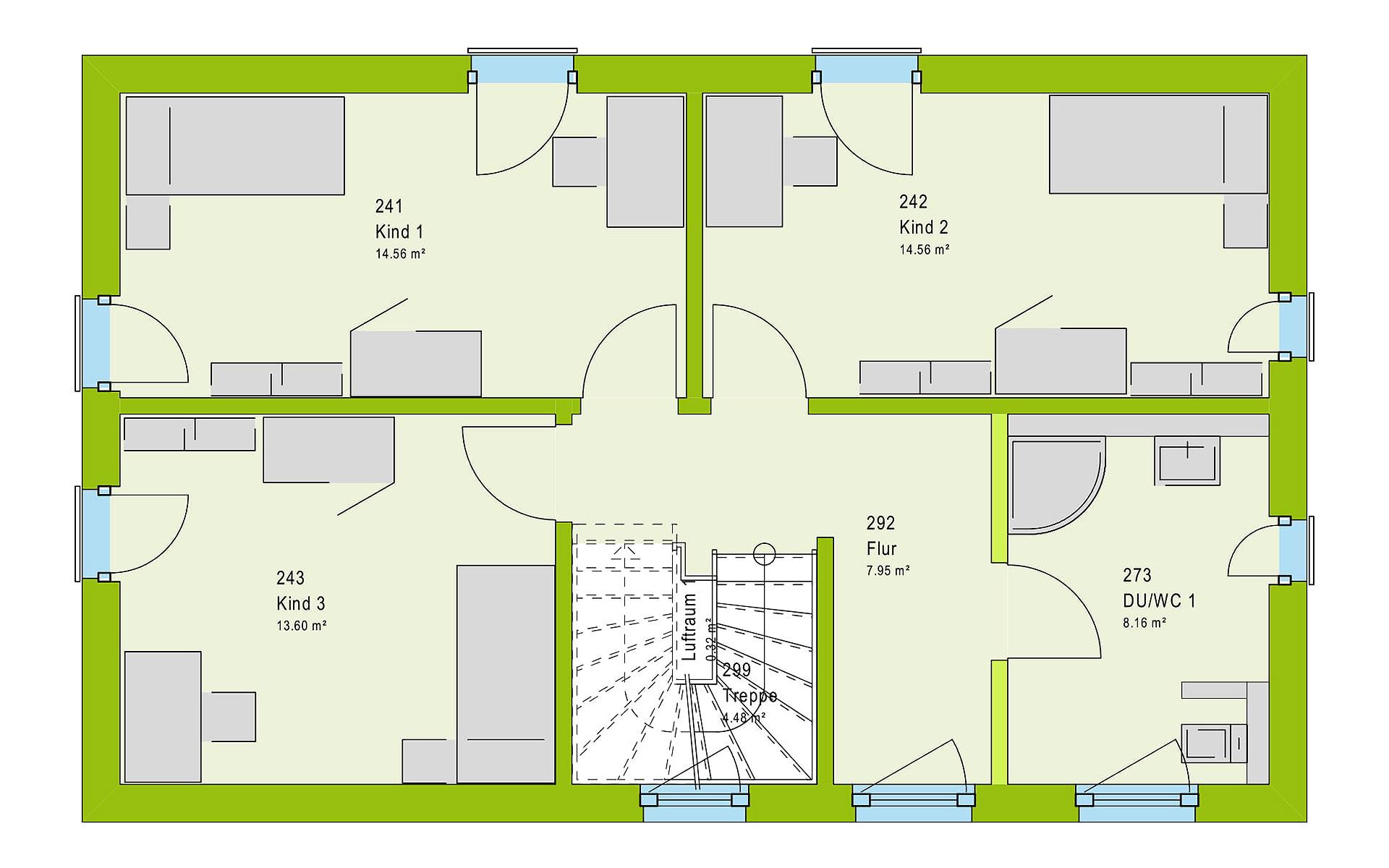 Obergeschoss LifeStyle 19.01 S von massa haus GmbH