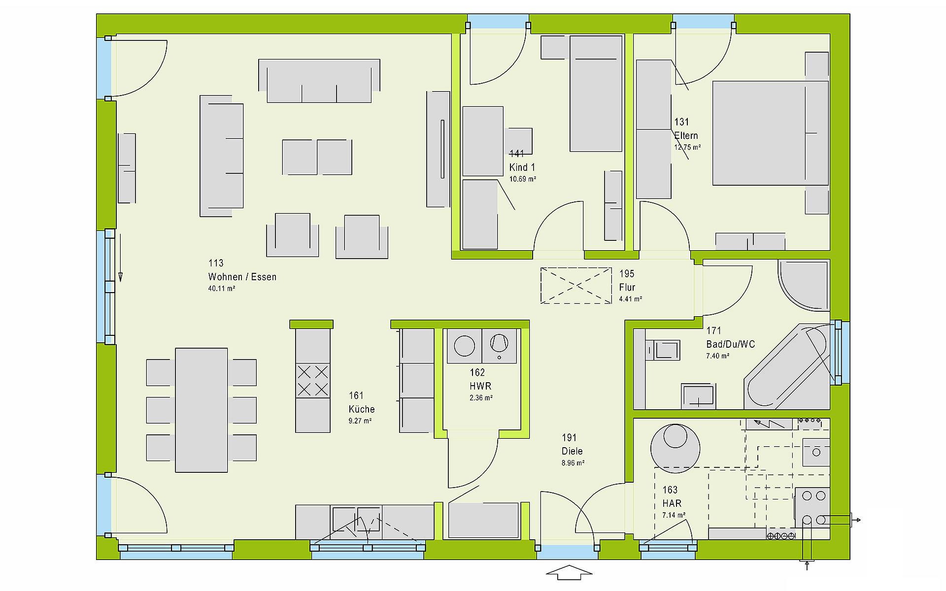 Erdgeschoss ComfortStyle 10.01 P von massa haus GmbH