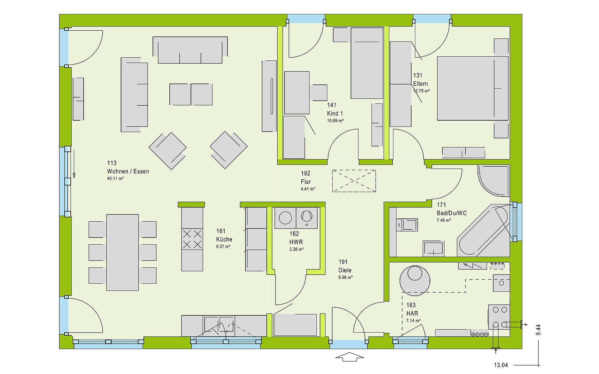Erdgeschoss ComfortStyle 10.01 W von massa haus GmbH