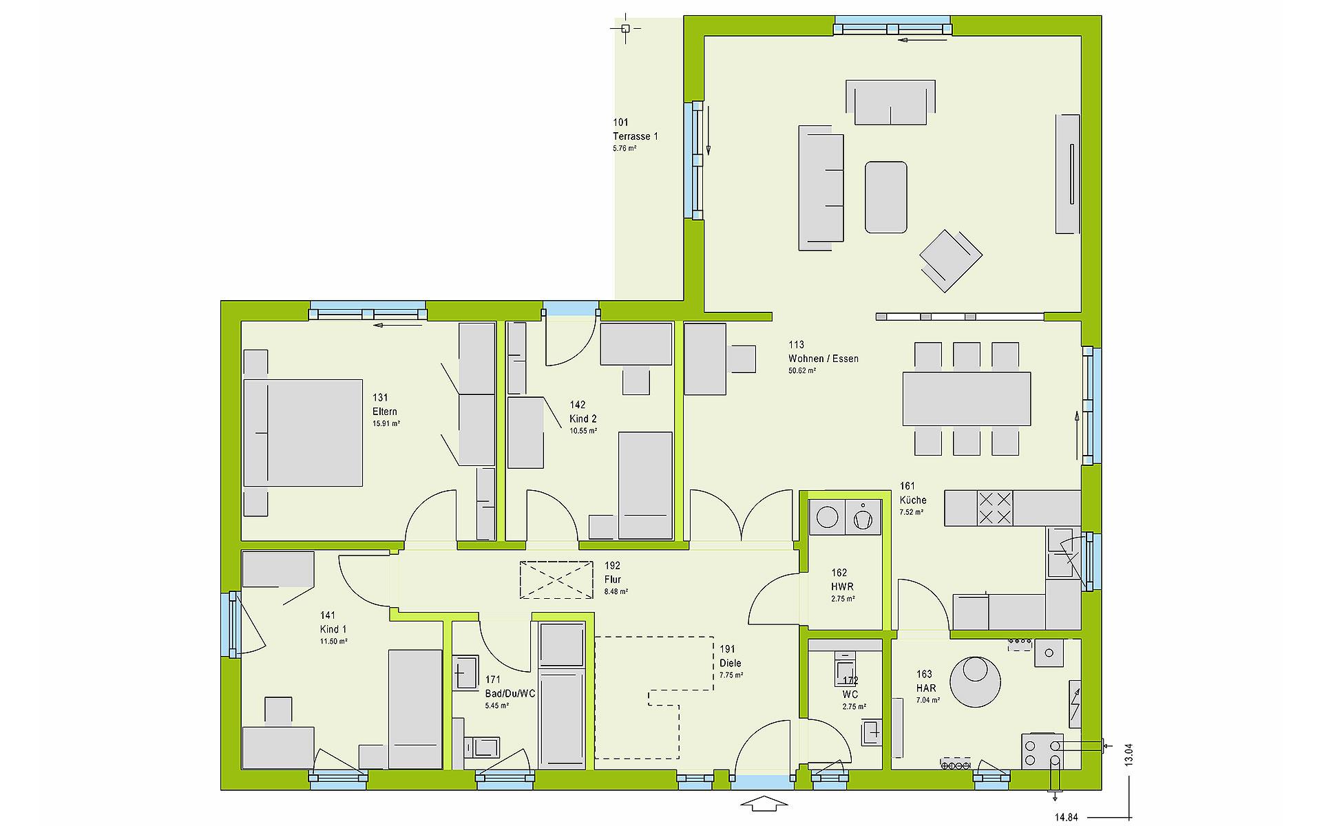 Erdgeschoss ComfortStyle 13.01 W von massa haus GmbH